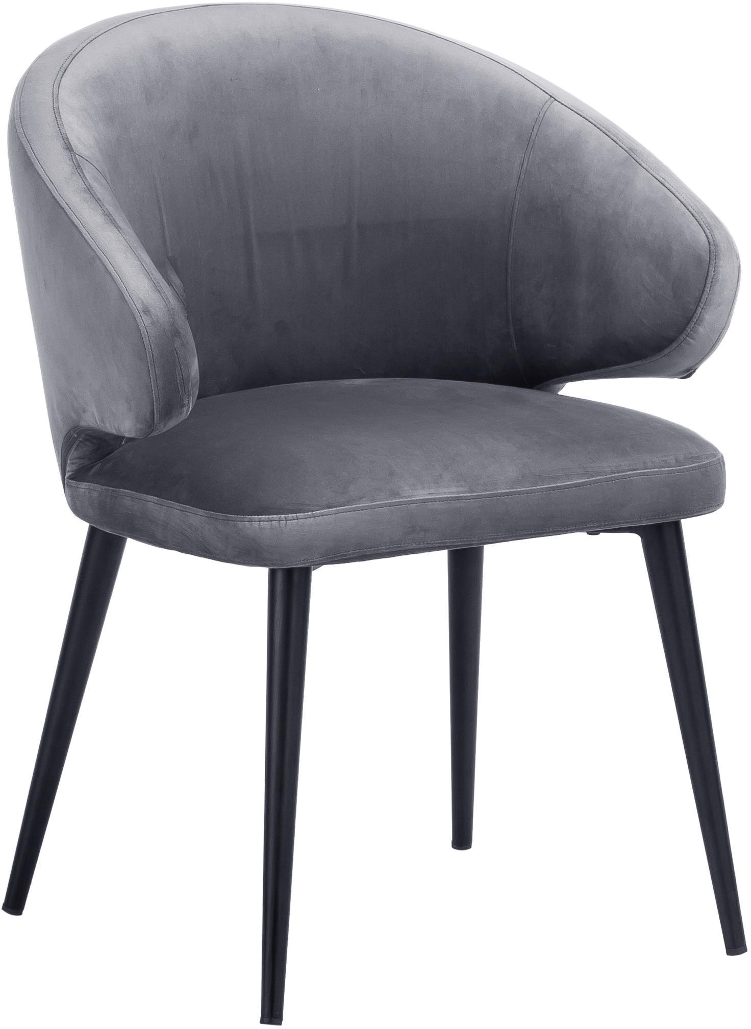 Krzesło z podłokietnikami z aksamitu Celia, Tapicerka: aksamit (poliester) Tkani, Nogi: metal malowany proszkowo, Aksamitny szary, S 57 x G 62 cm