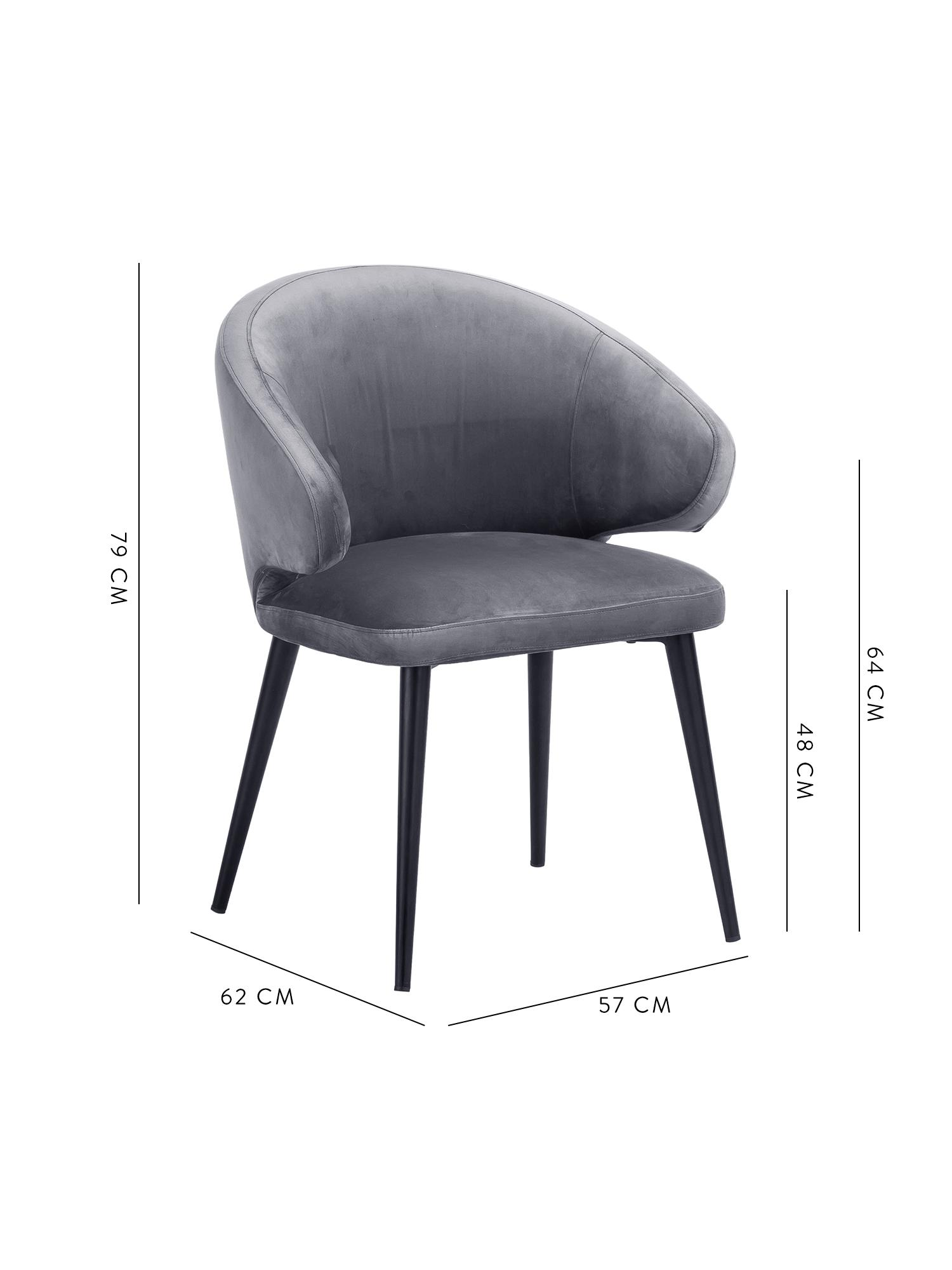 Samt-Armlehnstuhl Celia in modernem Design, Bezug: Samt (Polyester) 30.000 S, Beine: Metall, pulverbeschichtet, Samt Stahlgrau, B 57 x T 62 cm