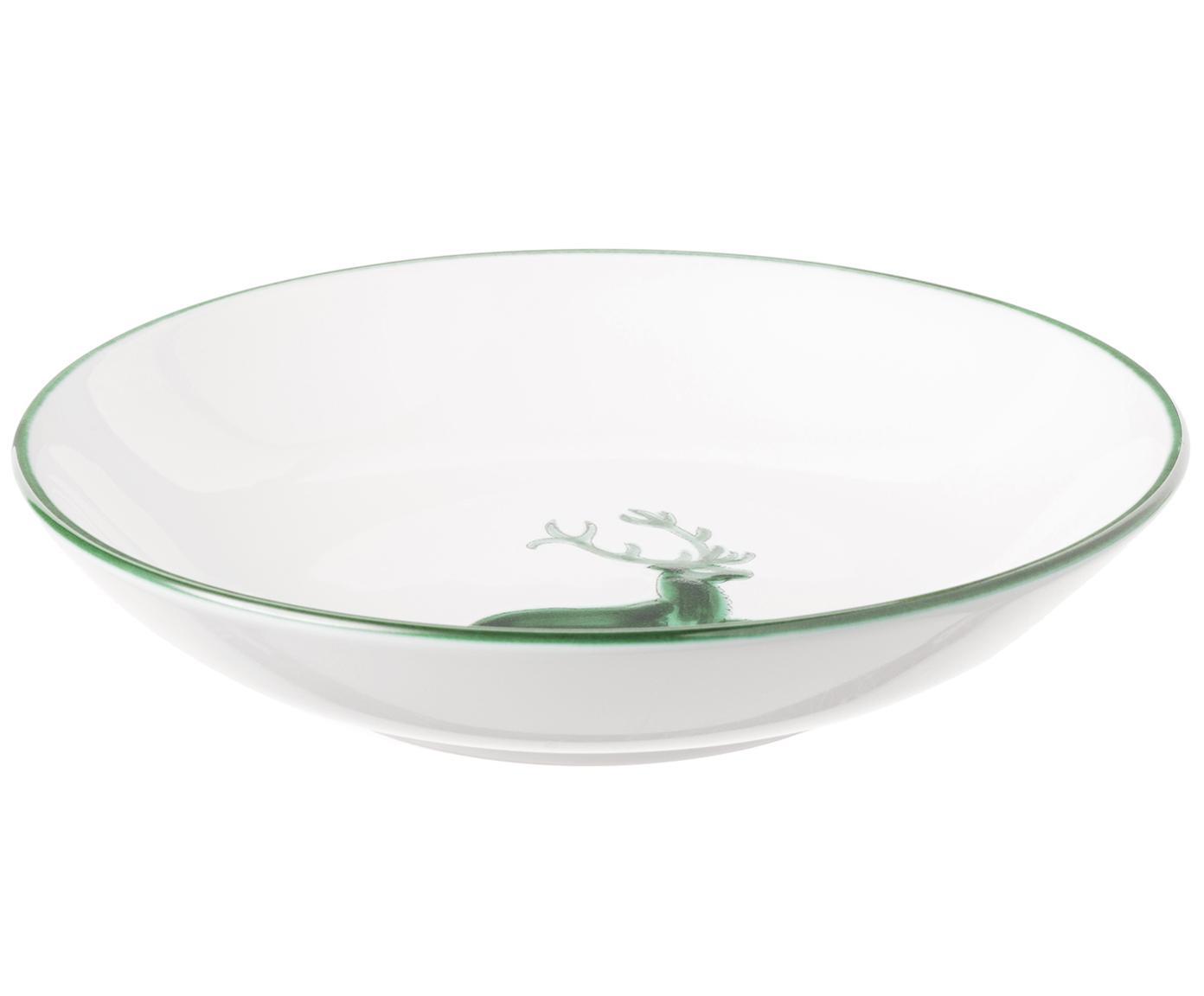 Piatto fondo con cervo verde Classic, Ceramica, Bianco, Ø 20 cm