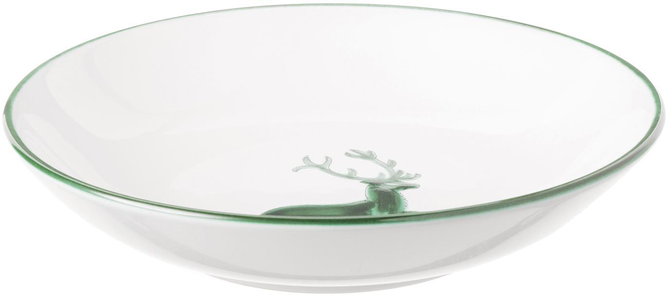 Piatto fondo dipinto a mano Classic Grüner Hirsch, Ceramica, Bianco, Ø 20 cm