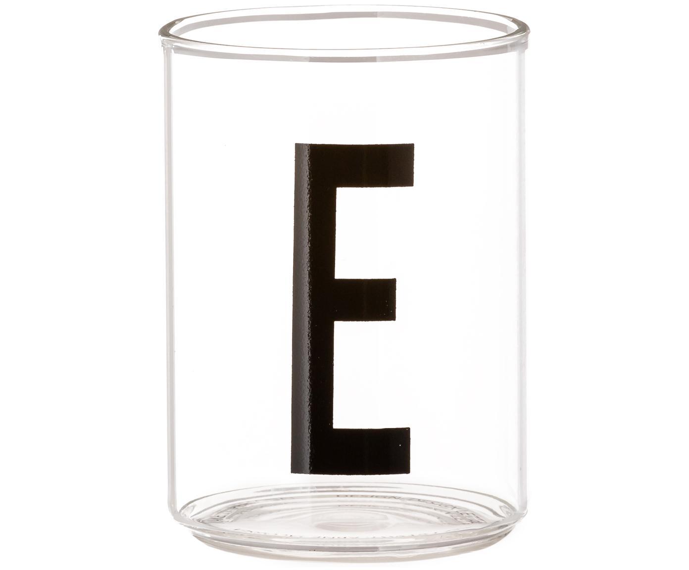 Bicchiere acqua in vetro Personal (varianti dalla A alla Z), Vetro borosilicato, Trasparente, nero, Bicchiere per l'acqua E