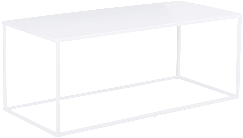 Tavolino da salotto in metallo Stina, Metallo verniciato a polvere, Bianco opaco, Larg. 90 x Alt. 45 cm