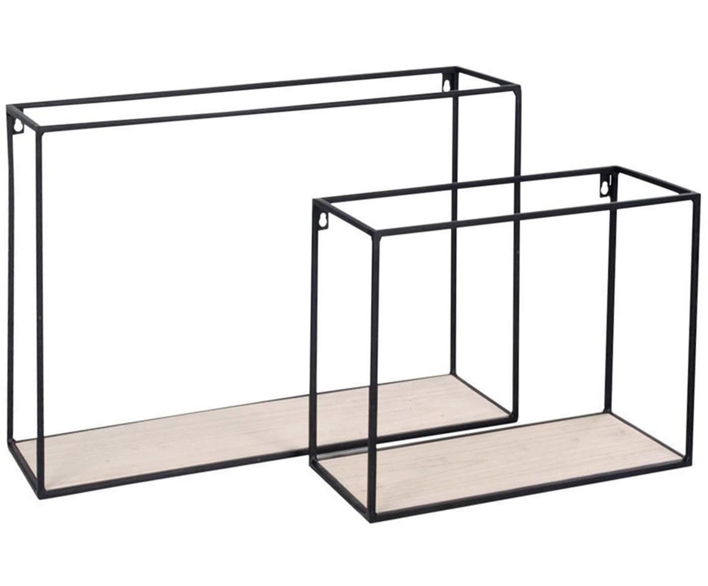 Set de estantes de pared Breda, 2pzas., Estante: madera, Estructura: acero, Beige, negro, Tamaños diferentes