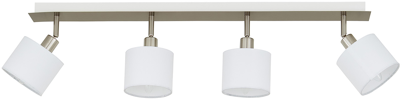 Faretti da soffitto Casper, Baldacchino: metallo, nichelato, Paralume: tessuto, Argento, bianco, Larg. 78 x Alt. 7 cm