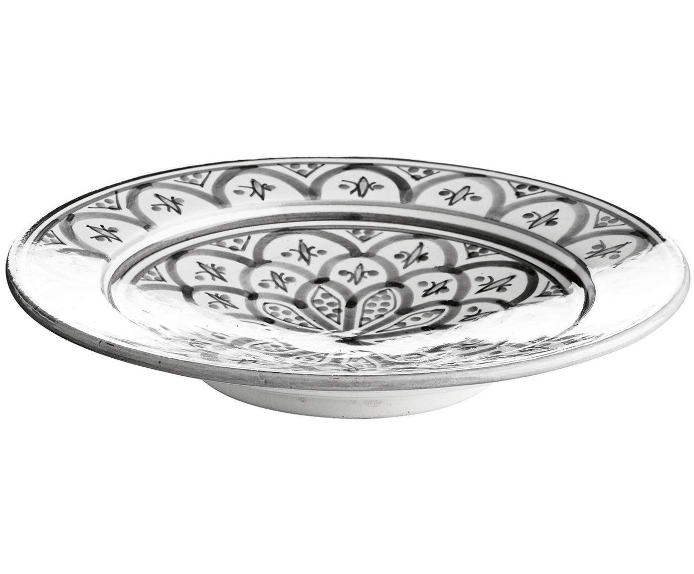 Schale Nanna, Keramik, handbemalt, Schwarz, Weiß, Ø 25 x H 6 cm