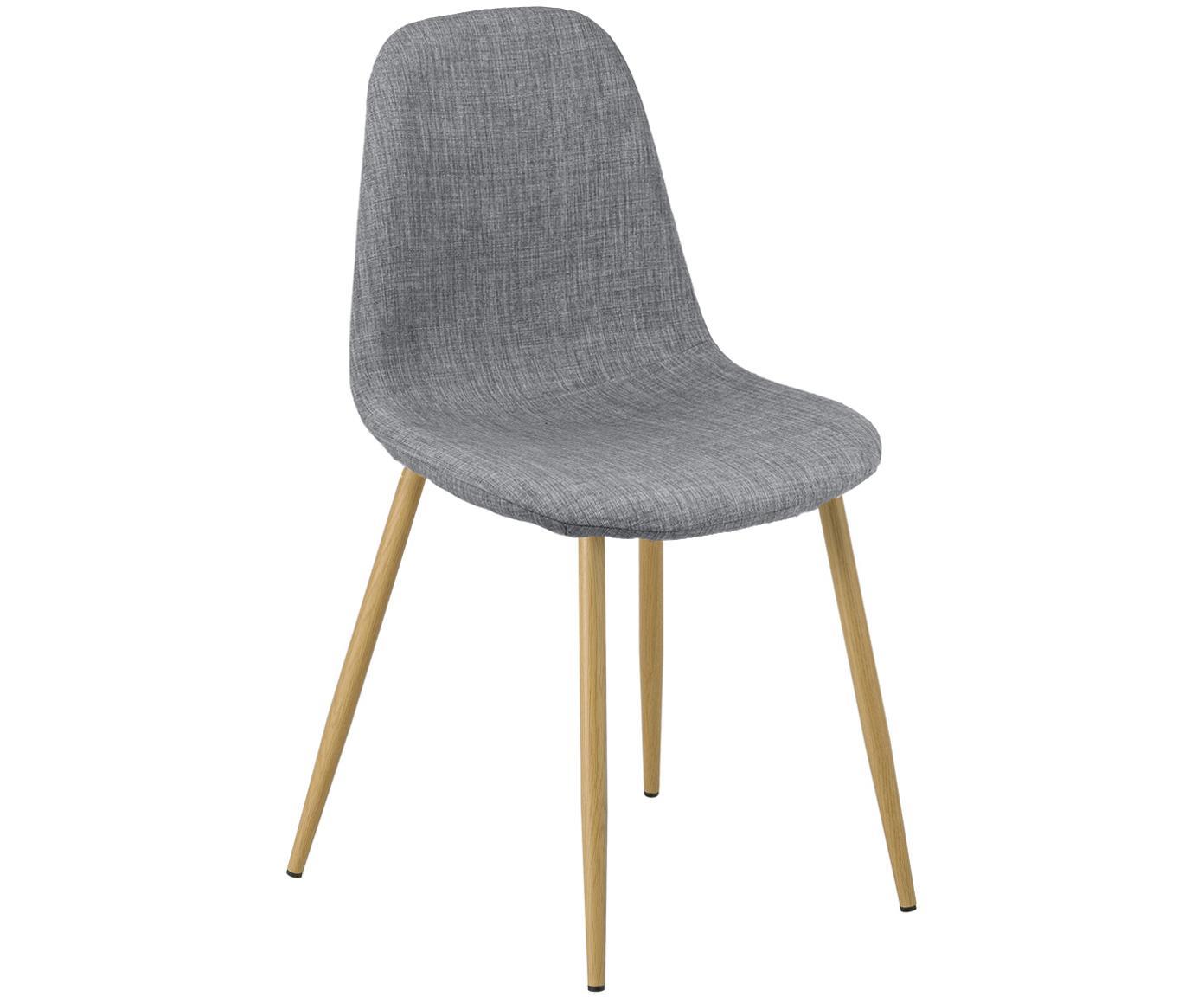 Krzesło tapicerowane Karla, 2 szt., Tapicerka: 100 % poliester, Tapicerka: pianka, 20 kg/m³, Nogi: metal o wyglądzie drewna , Szary, S 44 x G 53 cm
