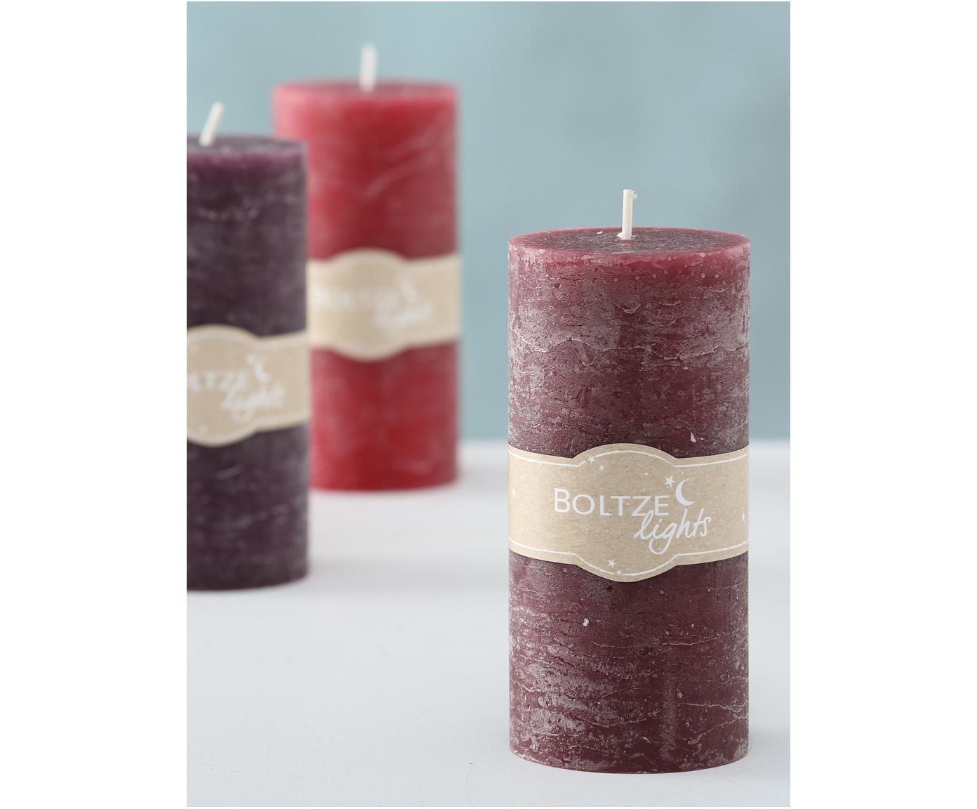 Set de velas Trent, 3pzas., Cera, Tonos rojos, Ø 7 x Al 15 cm