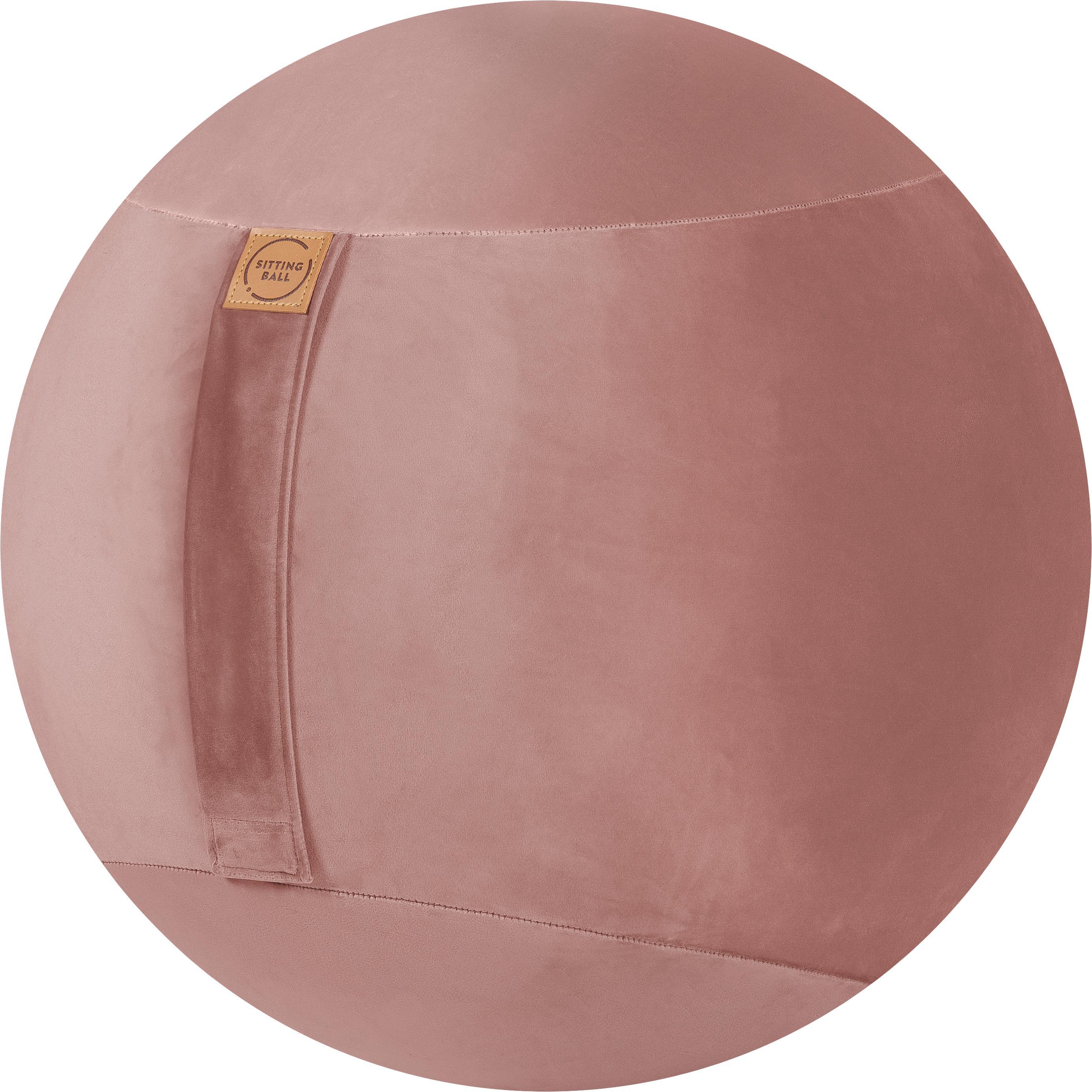 Fluwelen zitbal Velvet, Bekleding: polyester fluweel, Oudroze, Ø 65 cm