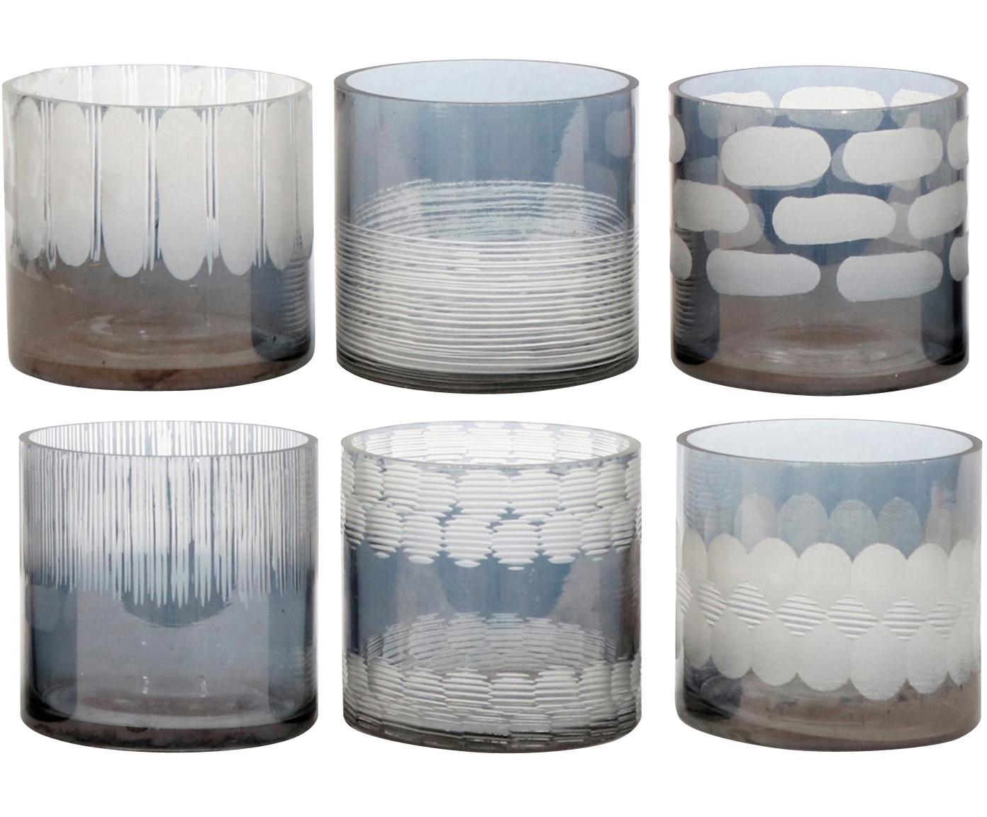 Windlichter-Set Cosmopol, 6-tlg., Glas, Blau, Grau, Ø 8 x H 8 cm