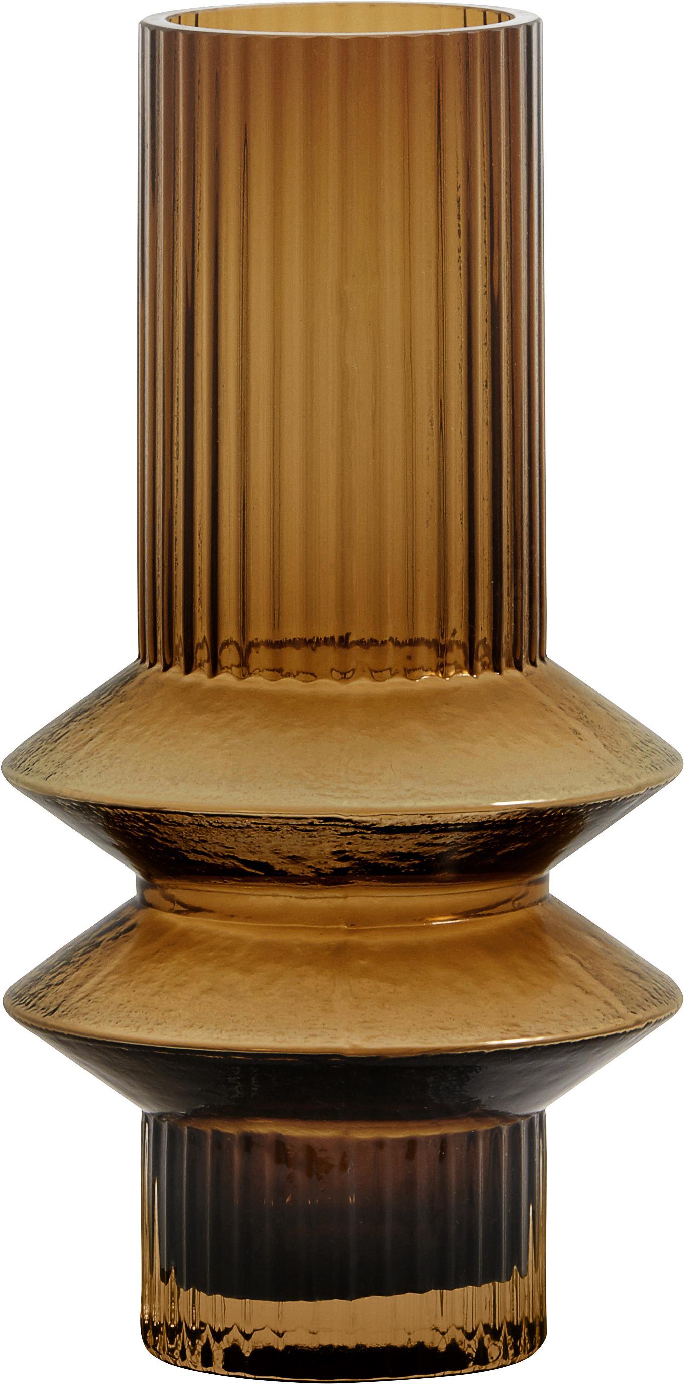 Glazen vaas Rilla, Glas, Amberkleurig, Ø 10 x H 21 cm