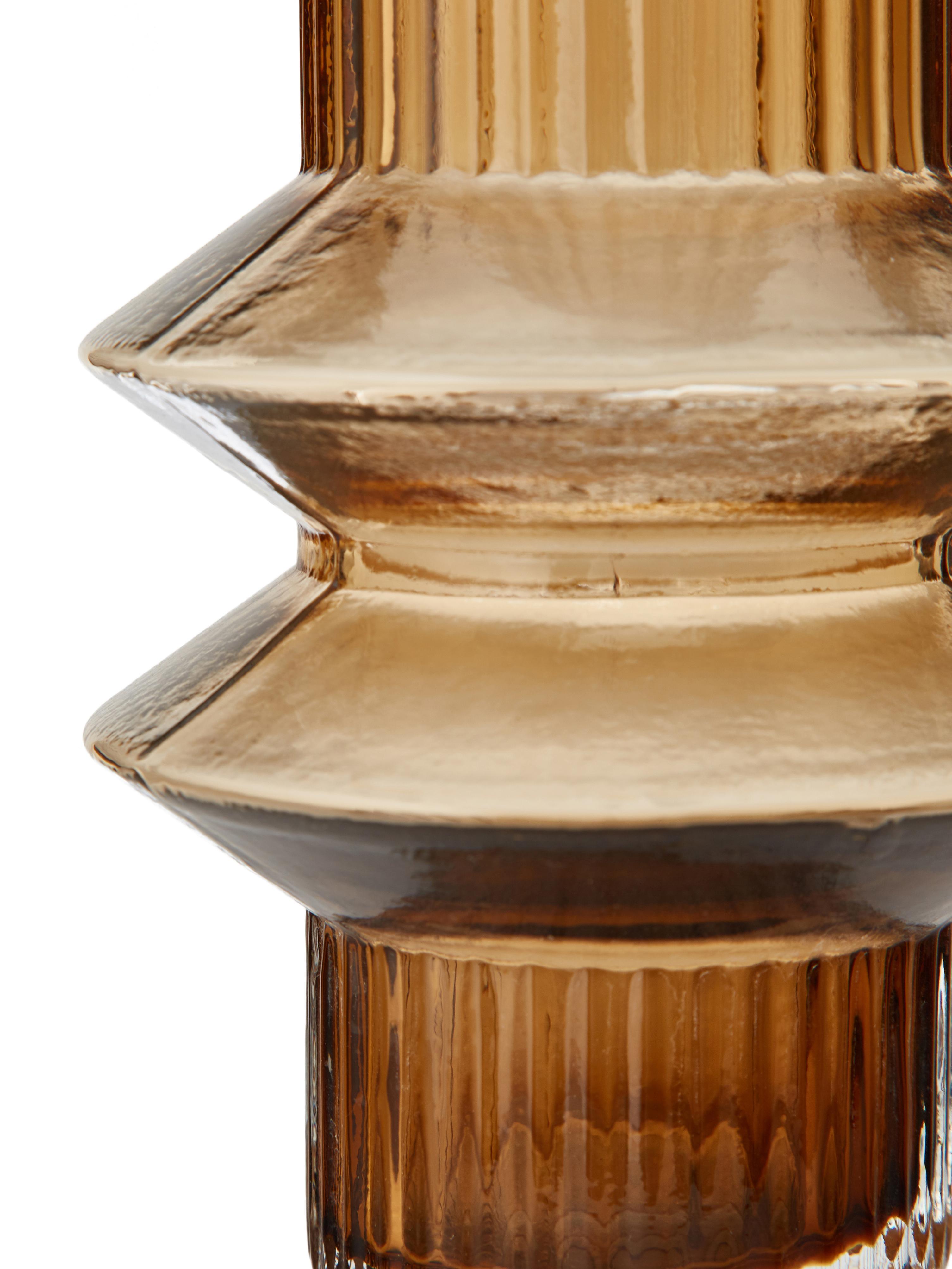 Transparente Glas-Vase Rilla mit Bernsteinschimmer, Glas, Bernsteinfarben, Ø 10 x H 21 cm