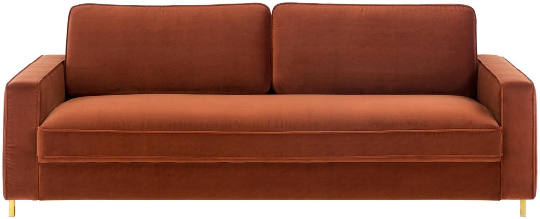 Samt-Sofa Chelsea (3-Sitzer), Bezug: Samt (Hochwertiger Polyes, Gestell: Massives Fichtenholz, Füße: Metall, beschichtet, Samt Rostrot, B 228 x T 100 cm