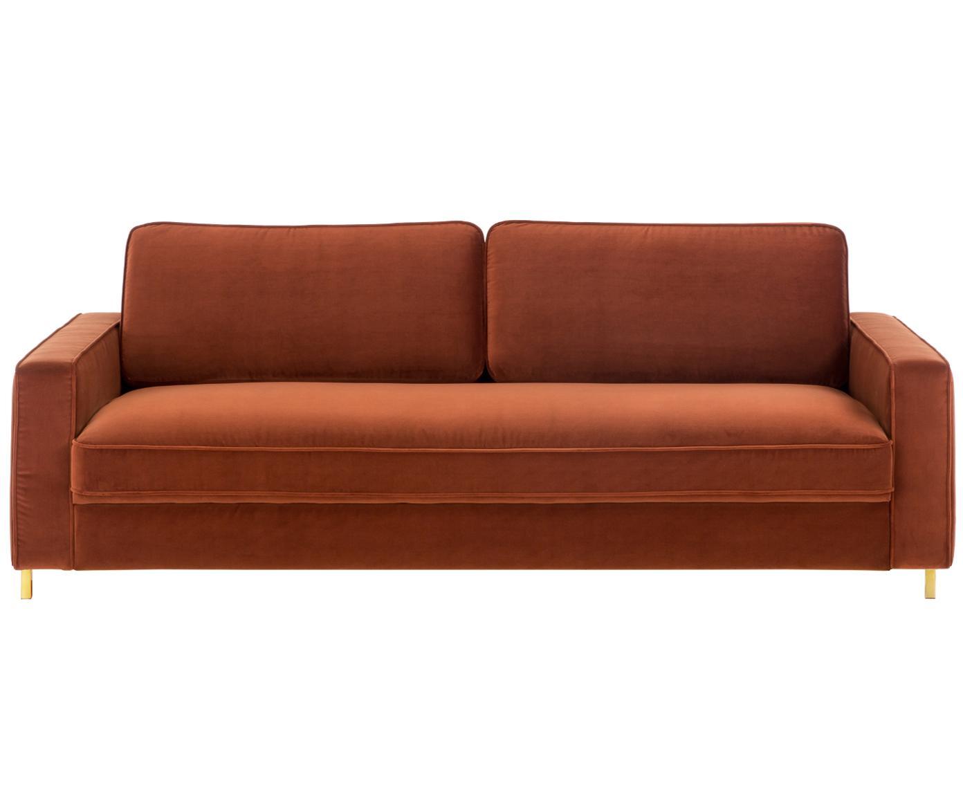 Sofa z aksamitu Chelsea (3-osobowa), Tapicerka: aksamit (wysokiej jakości, Stelaż: lite drewno świerkowe, Nogi: metal malowany proszkowo, Rudy, S 228 x G 100 cm
