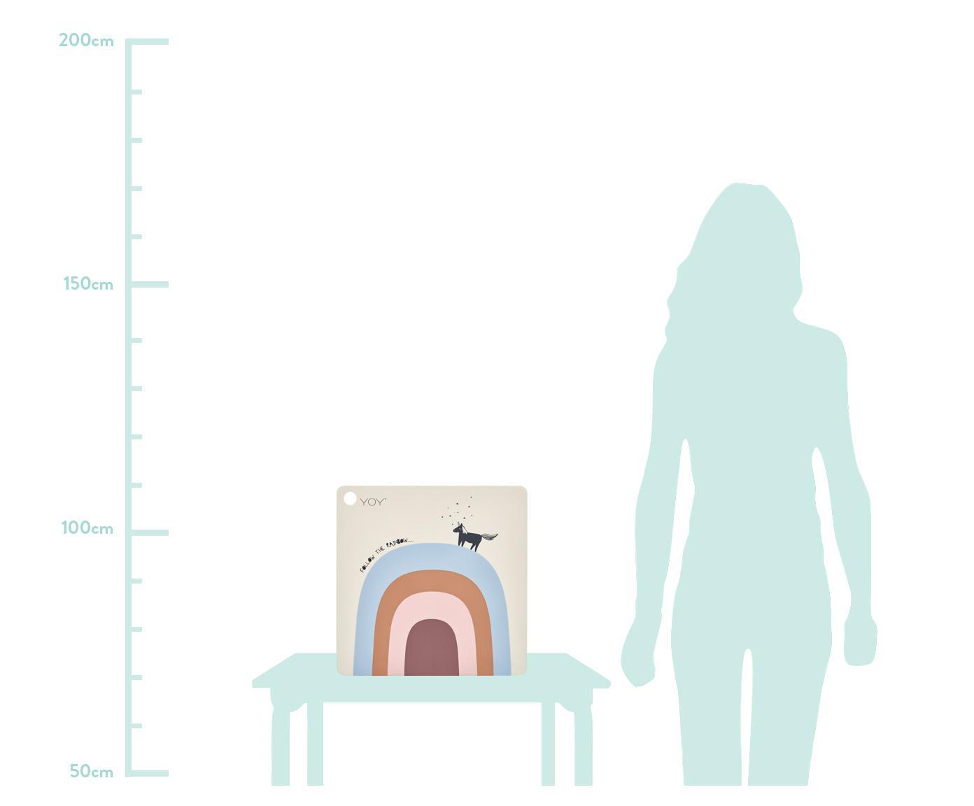 Tischset Rainbow, Silikon, Beige, Blau, Orange, Rosa, Altrosa, Schwarz, 38 x 38 cm