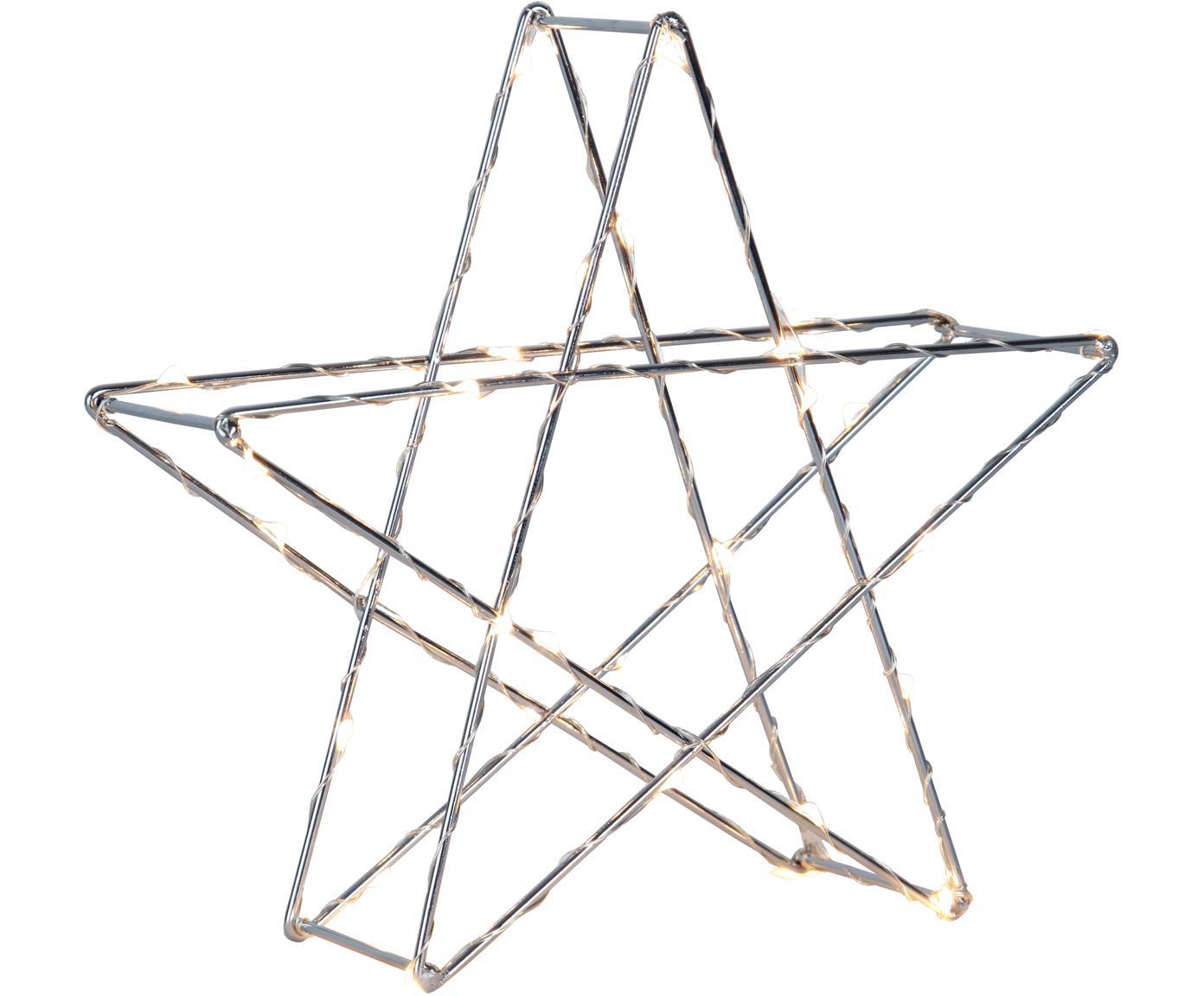 Lámpara decorativa LED a pilas Stern, Lámpara: metal, Cable: plástico, Cromo, An 25 x Al 25 cm