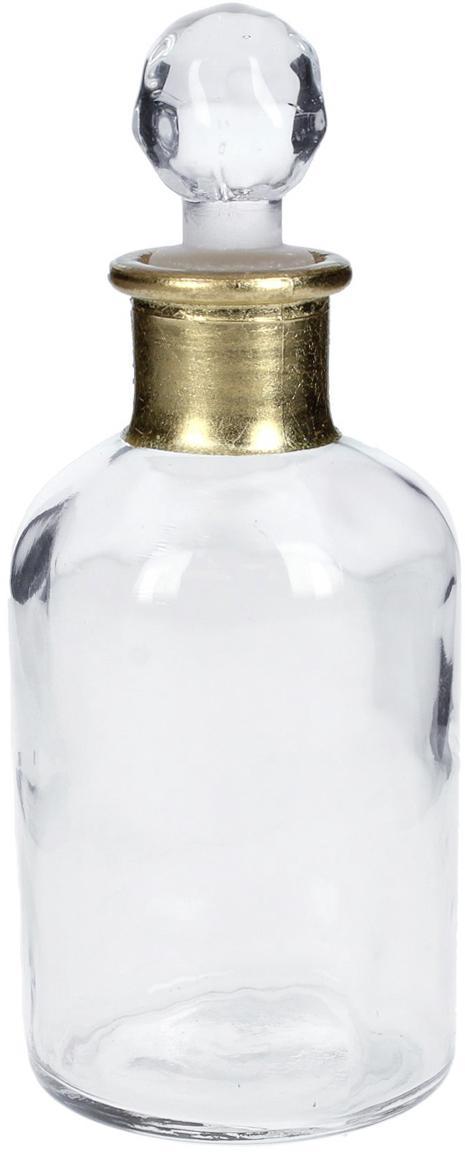 Kleine Deko-Flasche Doni, Glas, Transparent, Goldfarben, Ø 7 x H 17 cm