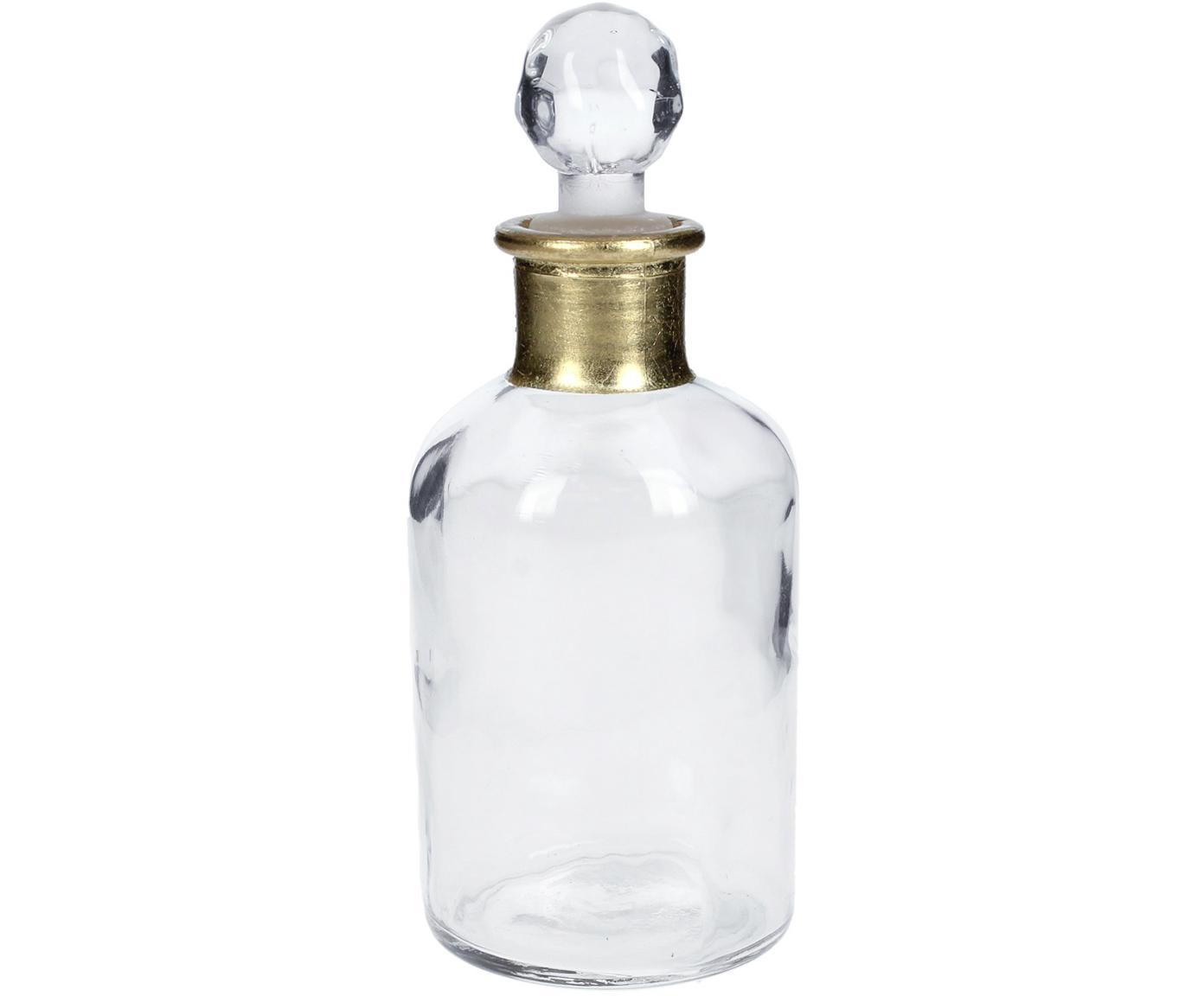Botella decorativa pequeña Doni, Vidrio, Transparente, dorado, Ø 7 x Al 17 cm