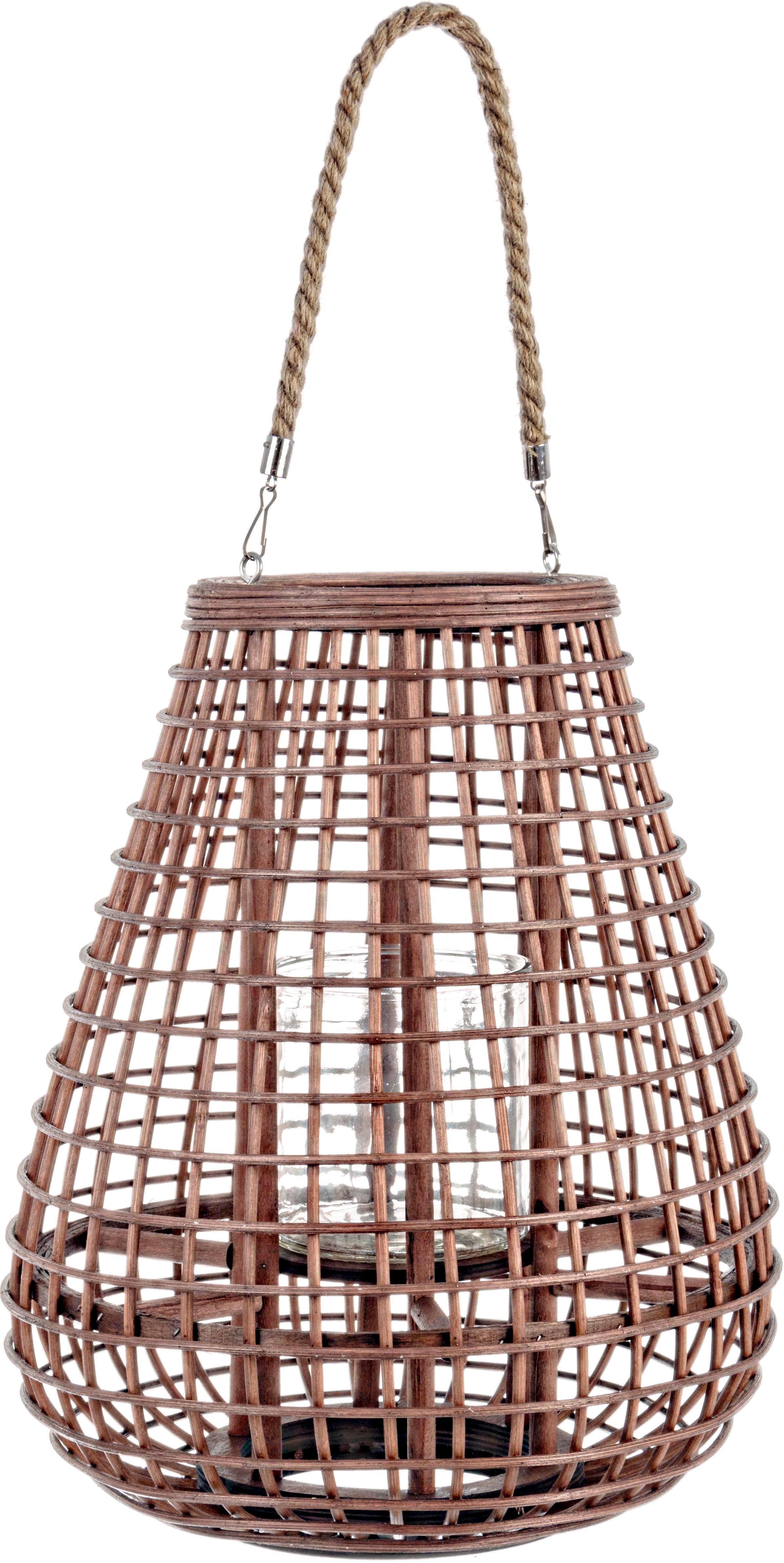 Portacandela Mombasa, Portacandela: rattan, Manico: iuta, Rattan, Ø 33 x Alt. 40 cm