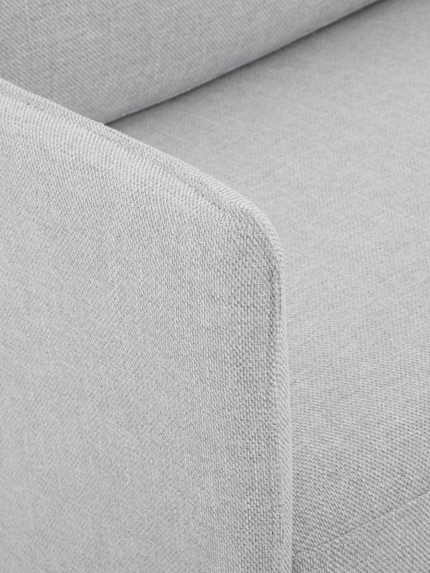 Ecksofa Ramira, Bezug: Polyester 40.000 Scheuert, Gestell: Massives Kiefernholz, Spe, Füße: Metall, pulverbeschichtet, Webstoff Hellgrau, 192 x 79 cm