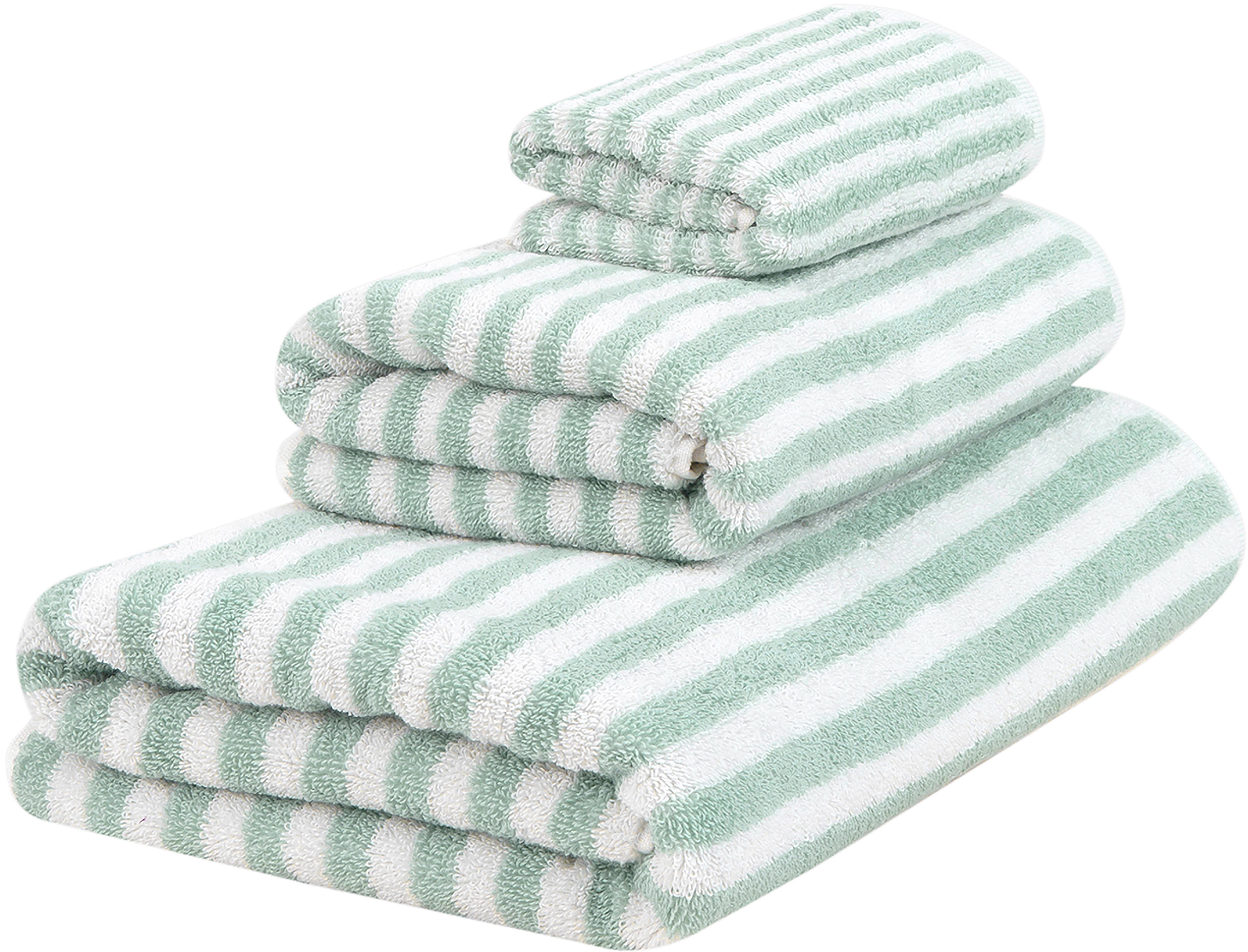 Komplet ręczników Viola, 3 elem., Miętowozielony, kremowobiały, Różne rozmiary