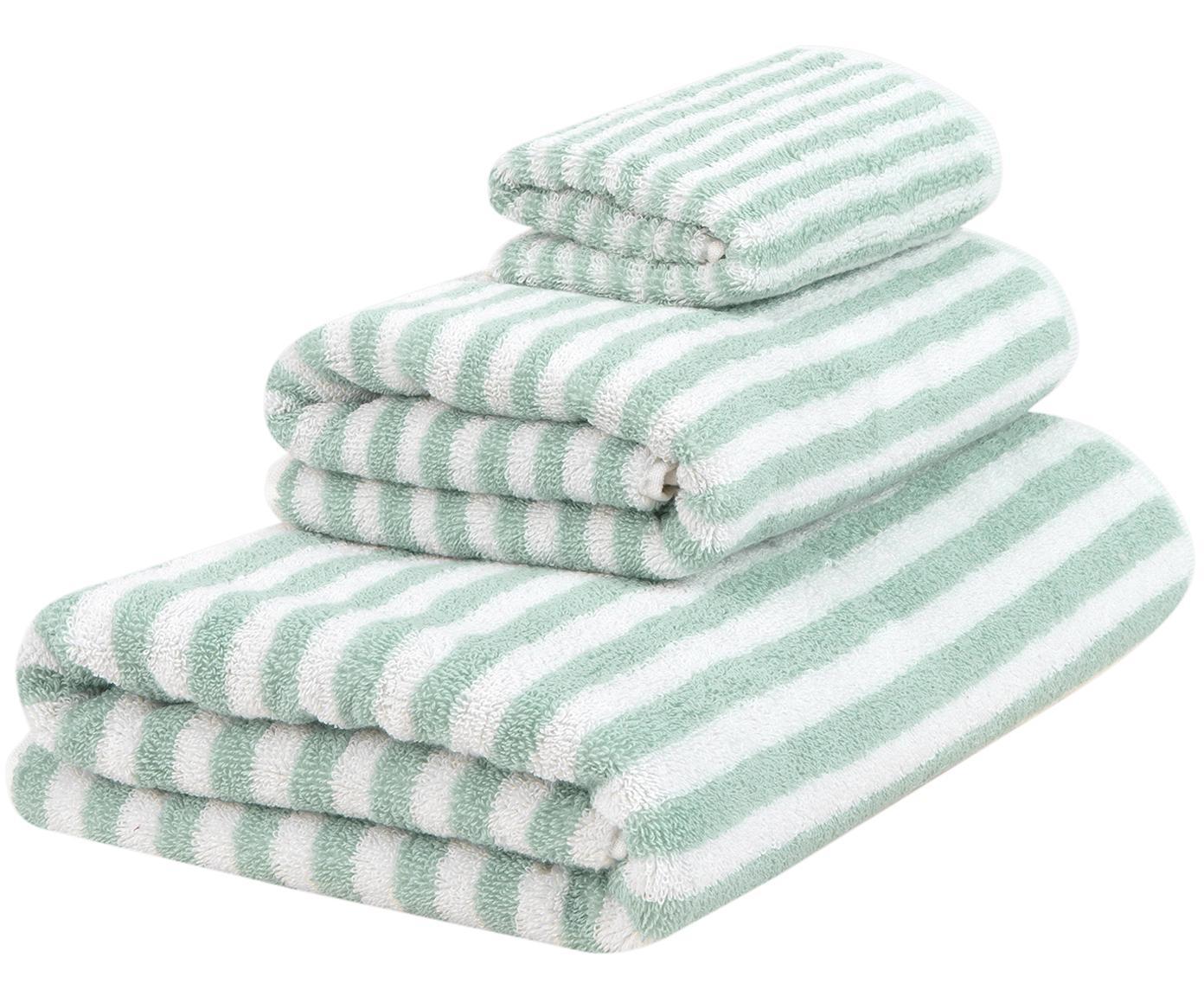 Set de toallas Viola, 3pzas., Verde menta, blanco crema, Tamaños diferentes