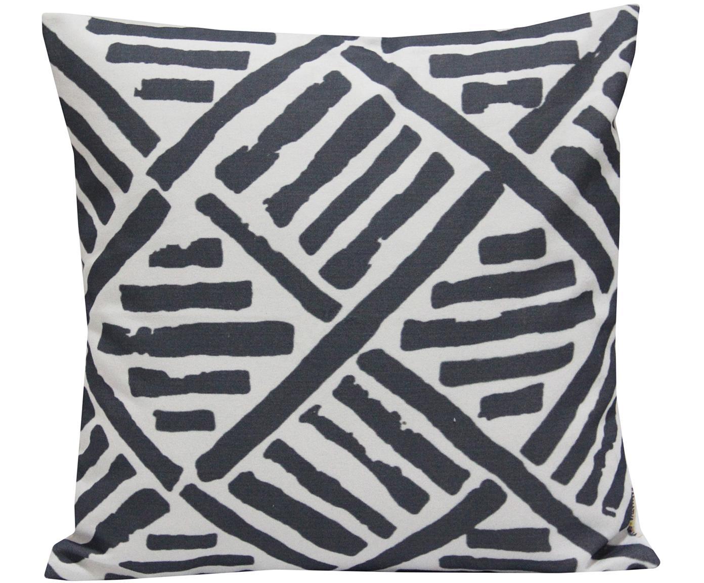 Kussenhoes Len met grafisch patroon, Katoen, Wit, zwart, 45 x 45 cm