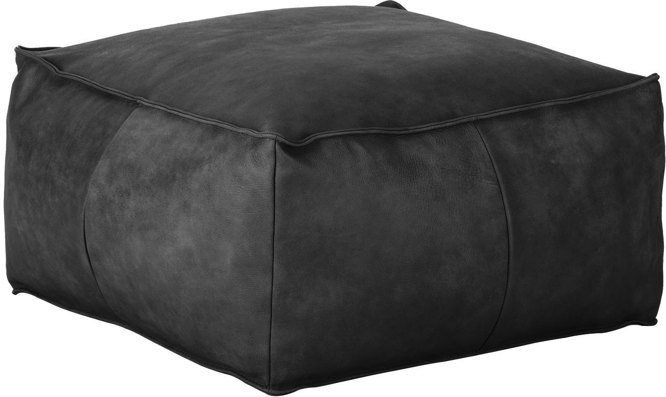 Cuscino da pavimento in pelle Porthos, Rivestimento: 100% pelle anilina, Nero, Larg. 80 x Alt. 33 cm