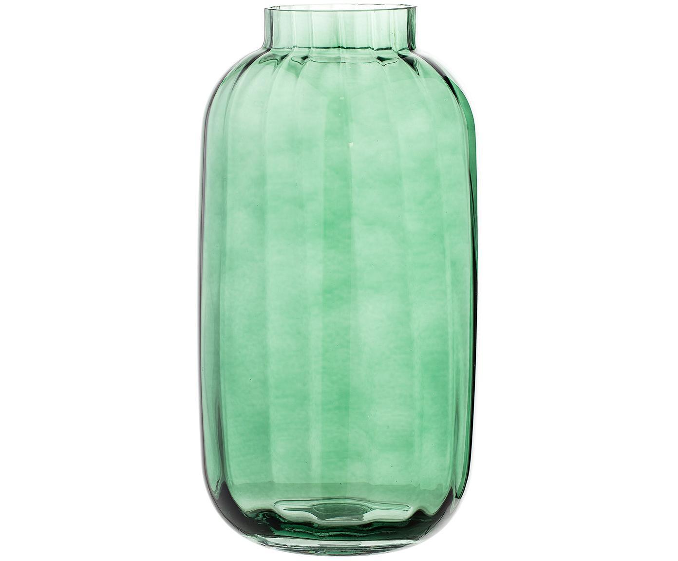 Duży wazon ze szkła dmuchanego Stina, Szkło, Jasny zielony, lekko transparentny, Ø 16 x W 32 cm
