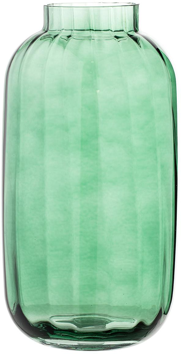 Grosse mundgeblasene Glas-Vase Stina, Glas, Hellgrün, leicht transparent, Ø 16 x H 32 cm