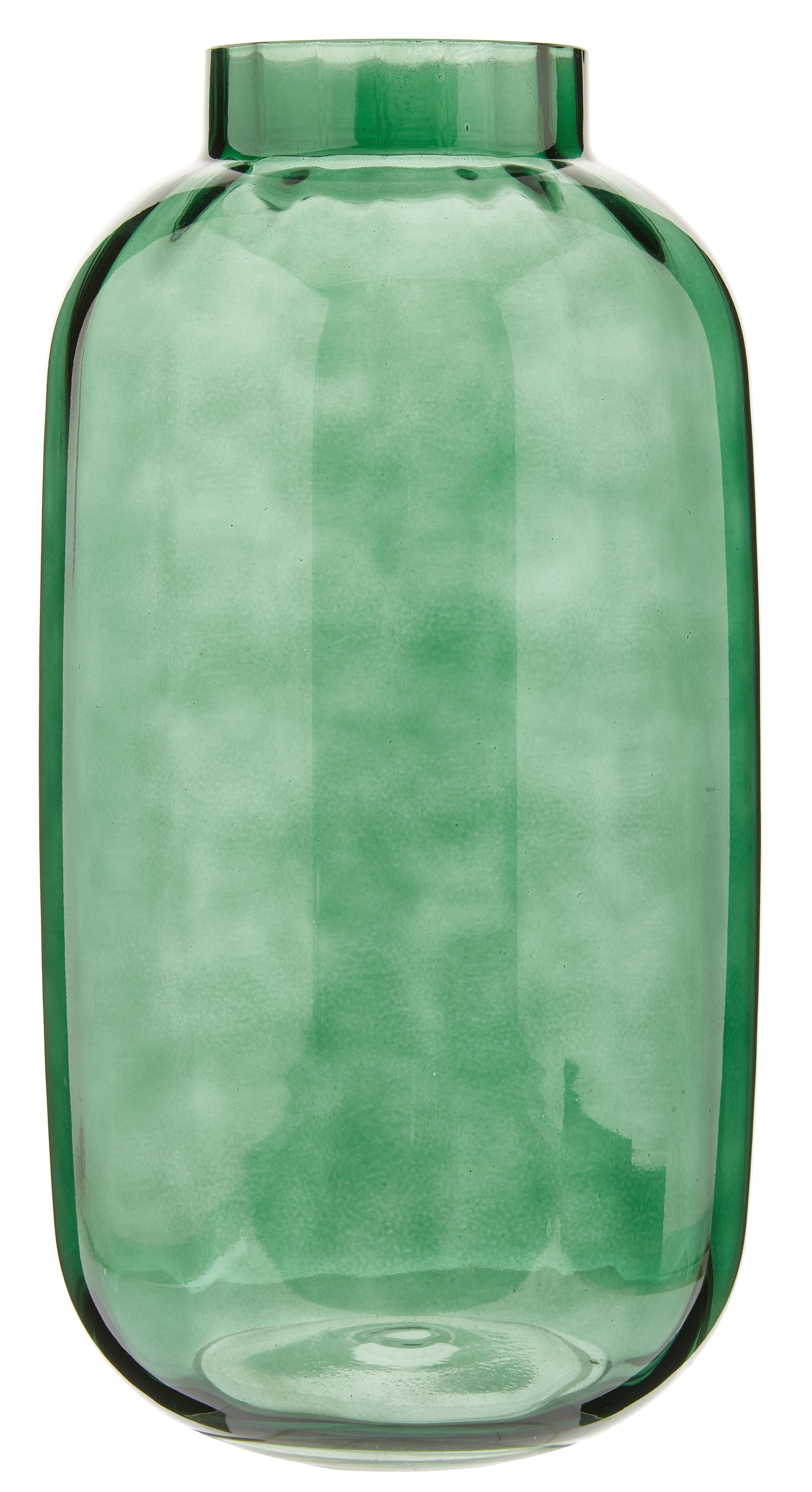 Große mundgeblasene Glas-Vase Stina, Glas, Hellgrün, leicht transparent, Ø 16 x H 32 cm