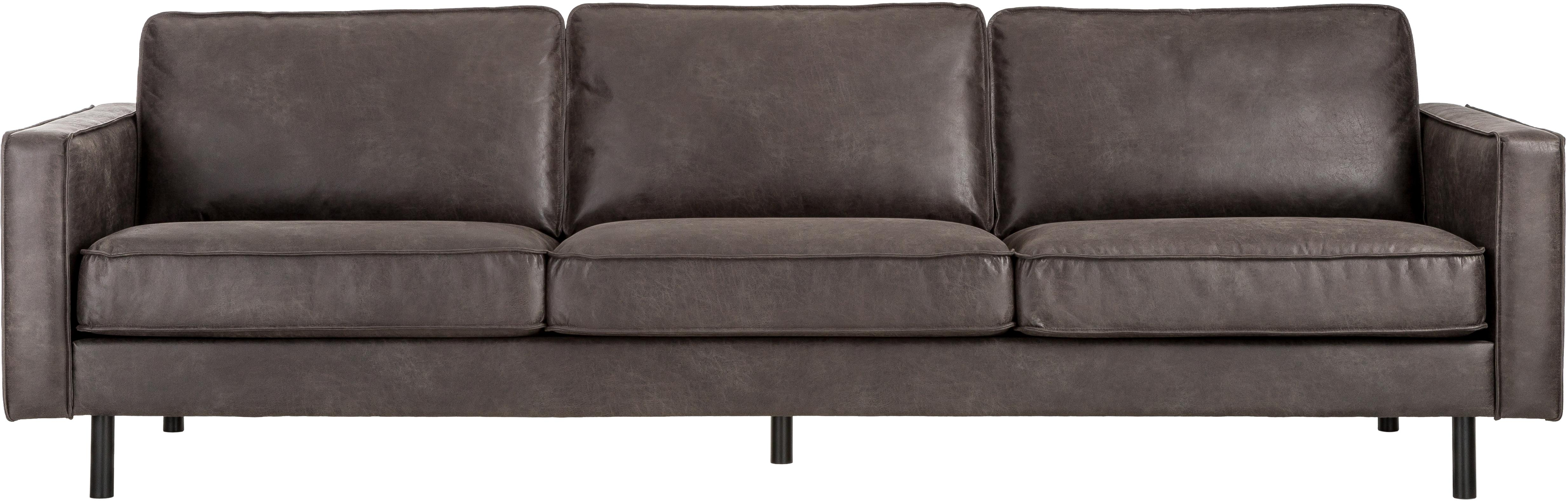Leder-Sofa Hunter (4-Sitzer), Bezug: 70% recyceltes Leder, 30%, Gestell: Massives Birkenholz und h, Füße: Metall, pulverbeschichtet, Leder Braungrau, B 264 x T 90 cm