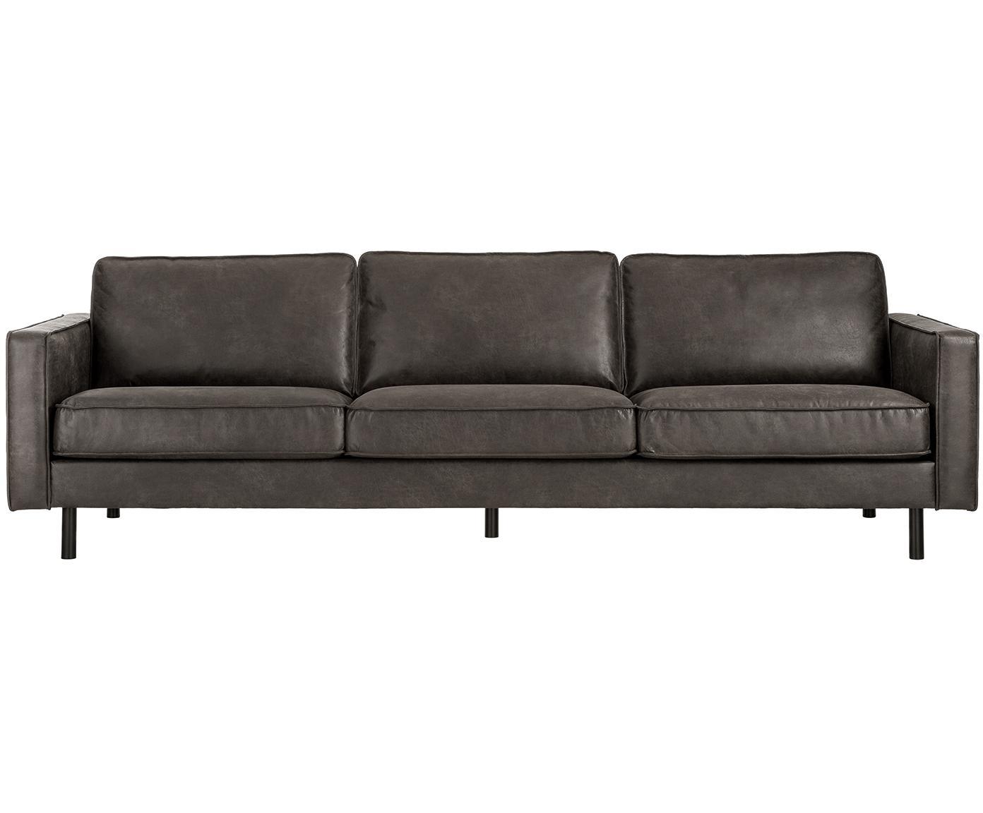 Leder-Sofa Hunter (4-Sitzer), Bezug: 70% recyceltes Leder, 30%, Gestell: Massives Birkenholz und h, Leder Braungrau, B 264 x T 90 cm