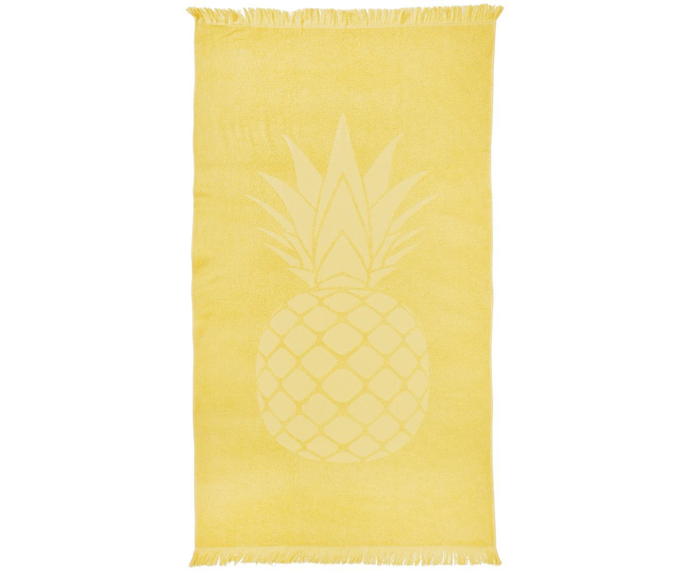 Hamamdoek Capri Pineapple, Katoen, lichte kwaliteit, 300 g/m², Geel, 90 x 160 cm