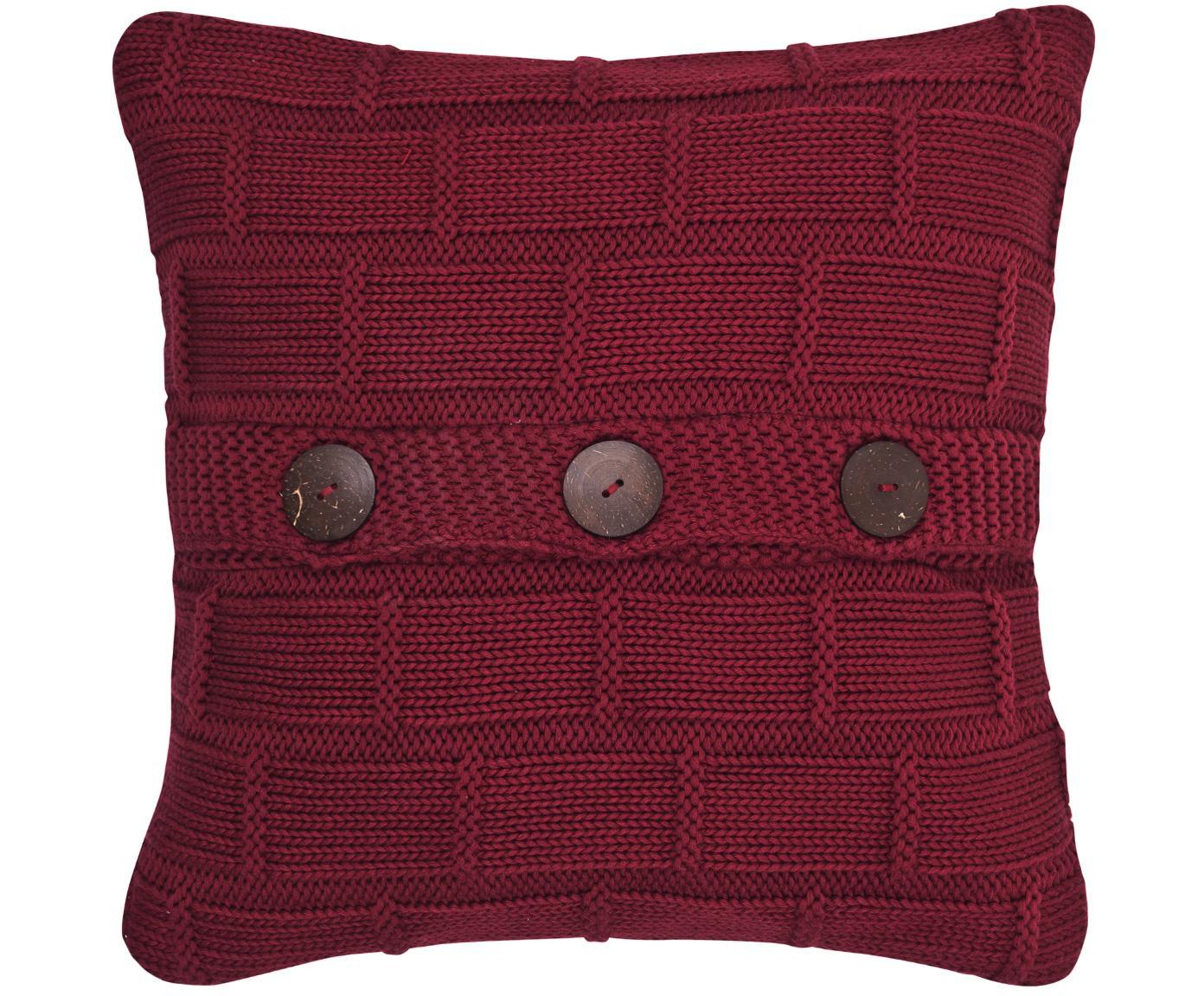 Dzianinowa poszewka na poduszkę Clara, 100% bawełna Guziki z drewna naturalnego, Czerwony, S 40 x D 40 cm
