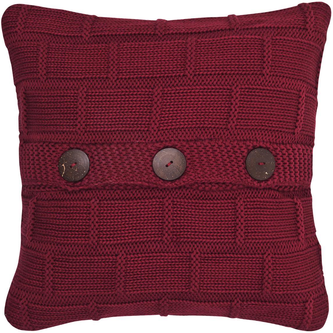Strick-Kissenhülle Clara in Rot mit Holzknöpfen, Baumwolle Holzknöpfe, Rot, 40 x 40 cm