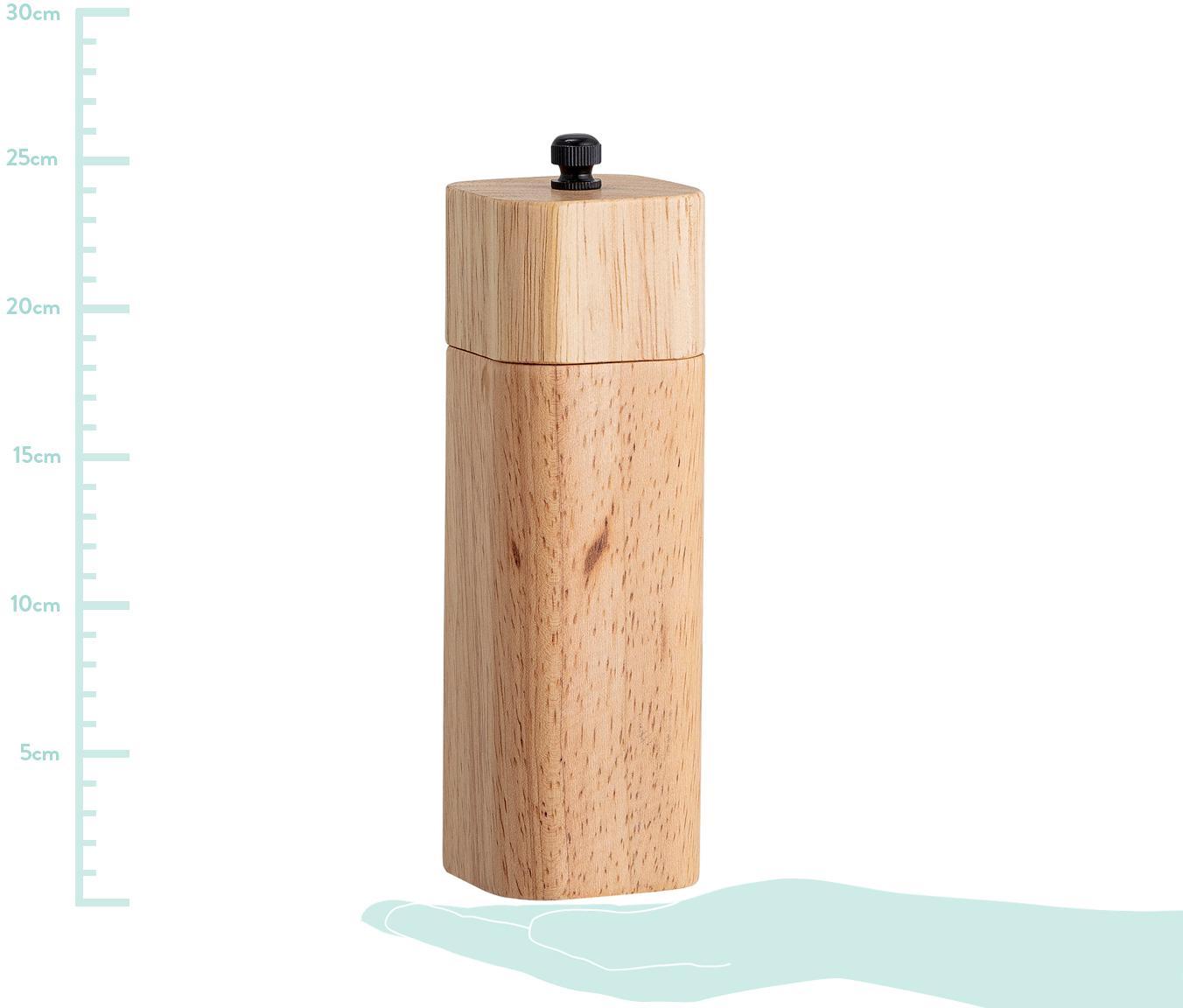 Salz- und Pfeffer Mühle Mill aus Holz, Gummibaumholz, Edelstahl, Beige, Ø 9 x H 8 cm
