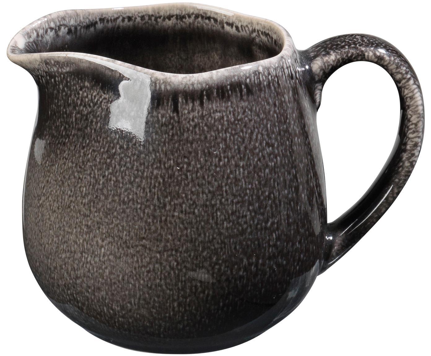Ręcznie wykonany dzbanek do mleka Nordic Coal, Kamionka, Brązowy, Ø 12 x 9 cm