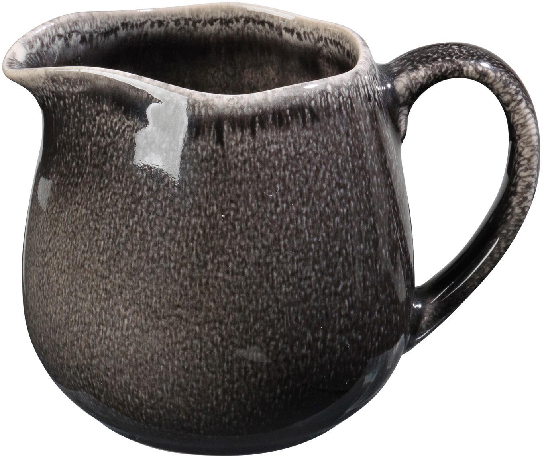 Ręcznie wykonany dzbanek do mleka z kamionki Nordic Coal, Kamionka, Brązowy, Ø 12 x 9 cm
