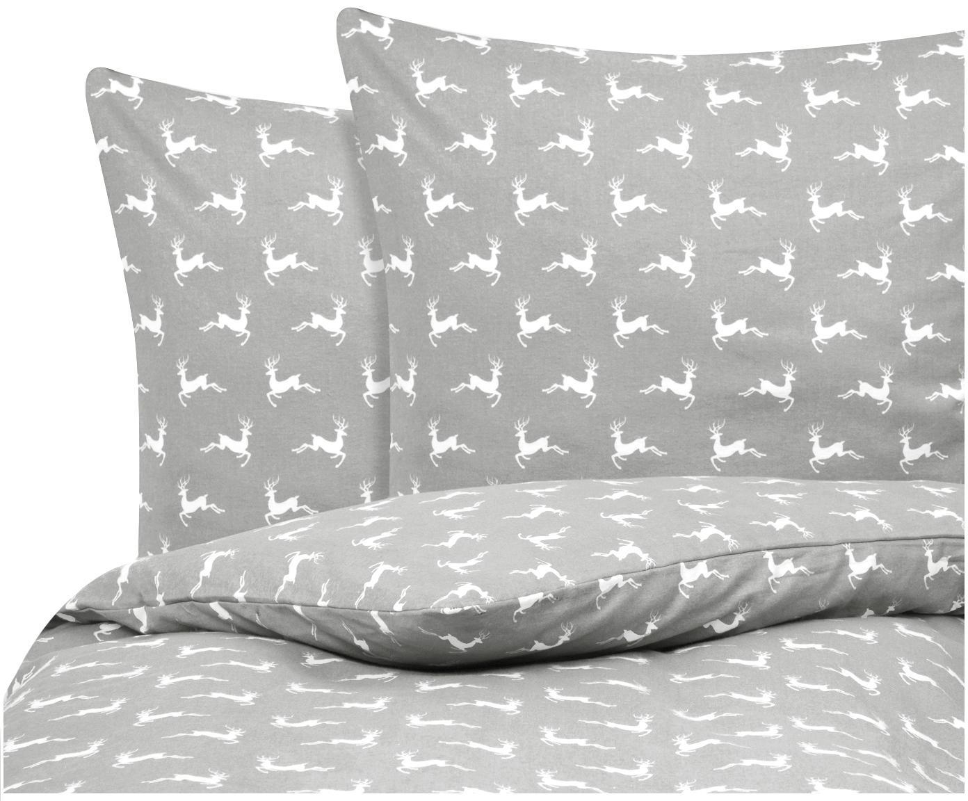 Flanell-Bettwäsche Rudolph mit Rentieren, Webart: Flanell Flanell ist ein s, Grau, Ecru, 200 x 200 cm + 2 Kissen 80 x 80 cm