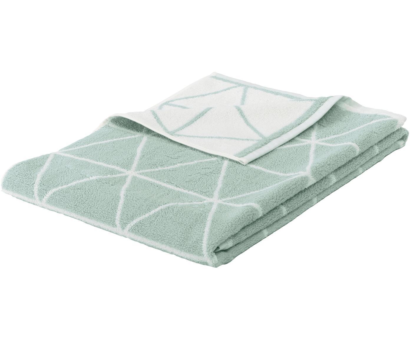 Wende-Handtuch Elina mit grafischem Muster, Mintgrün, Cremeweiß, Handtuch