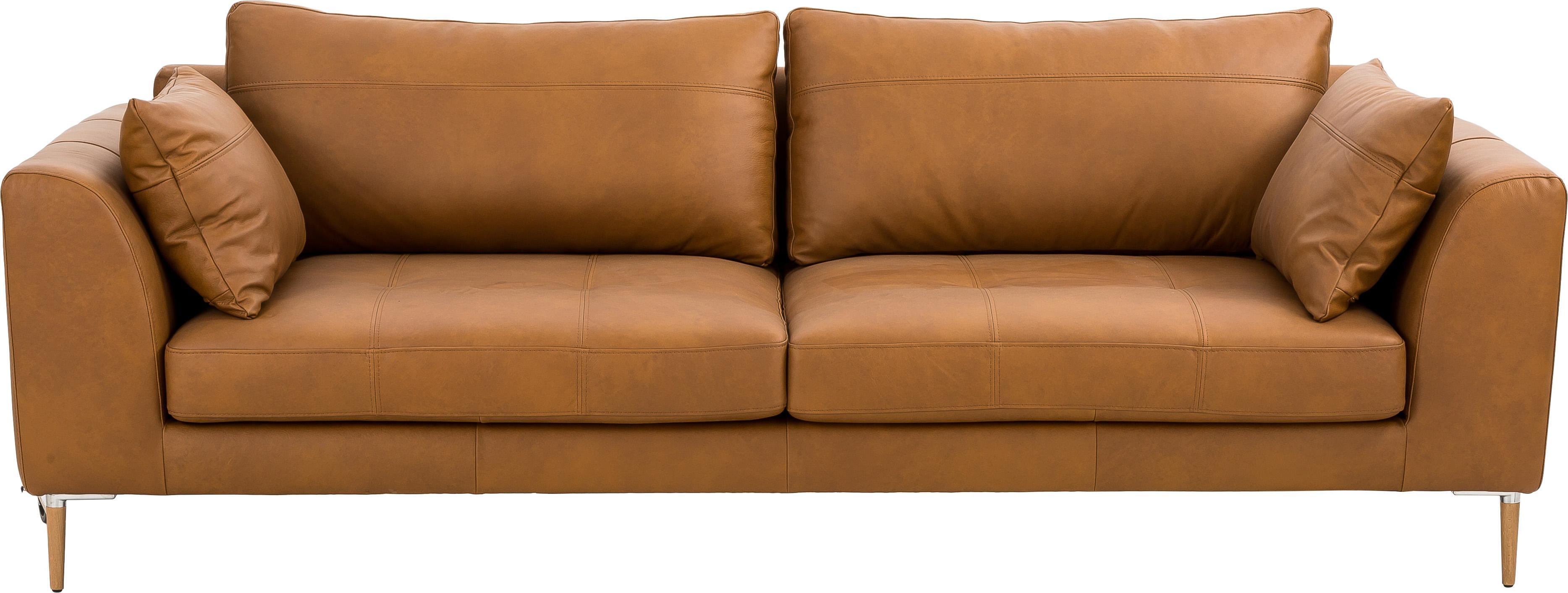 Leder Big Sofa Canyon (3-Sitzer), Bezug: Semianilinleder, Leder Cognac, B 225 x T 100 cm