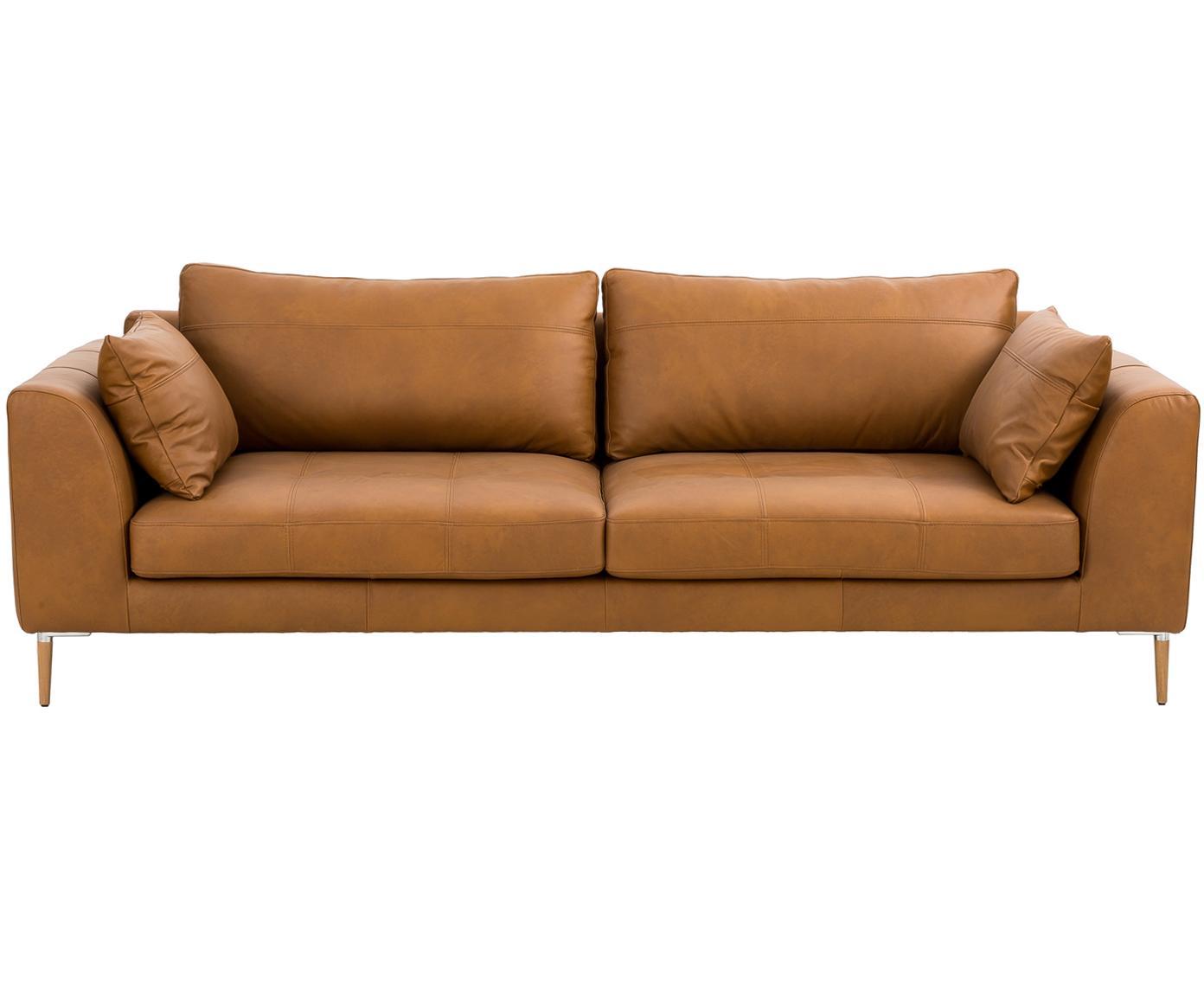 Sofa ze skóry Canyon (3-osobowa), Tapicerka: skóra częściowo anilinowa, Nogi: drewno bukowe, metal, Skóra w kolorze koniakowym, S 225 x G 100 cm