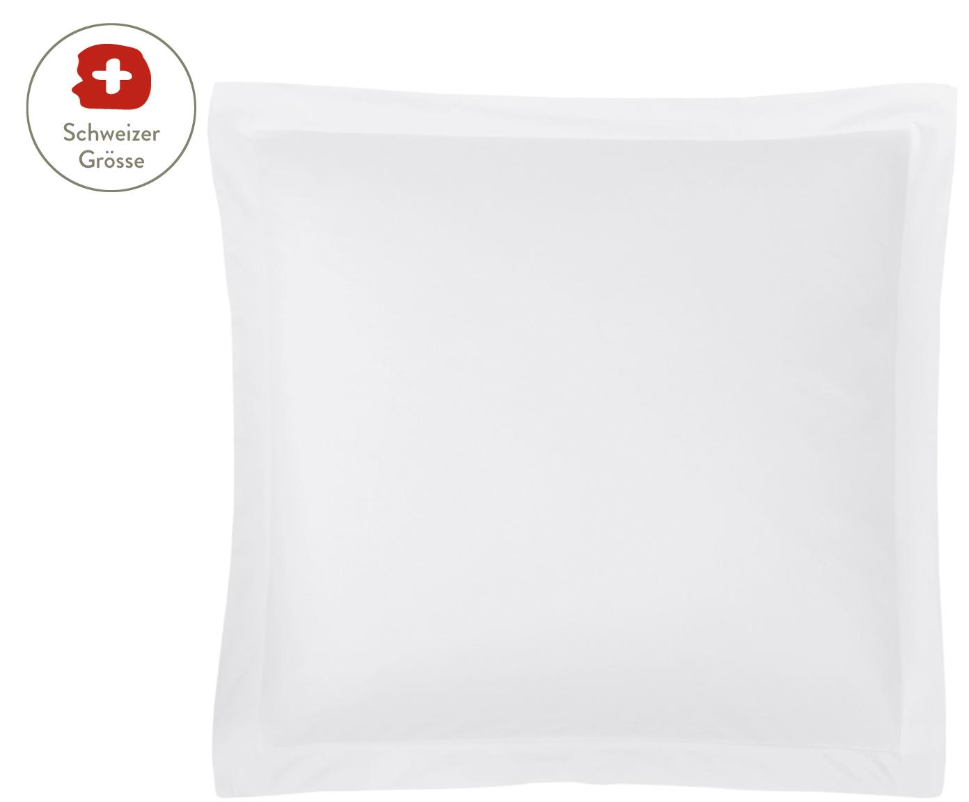 Baumwollsatin-Kissenbezug Premium in Weiss mit Stehsaum, Webart: Satin, leicht glänzend Fa, Weiss, 65 x 65 cm