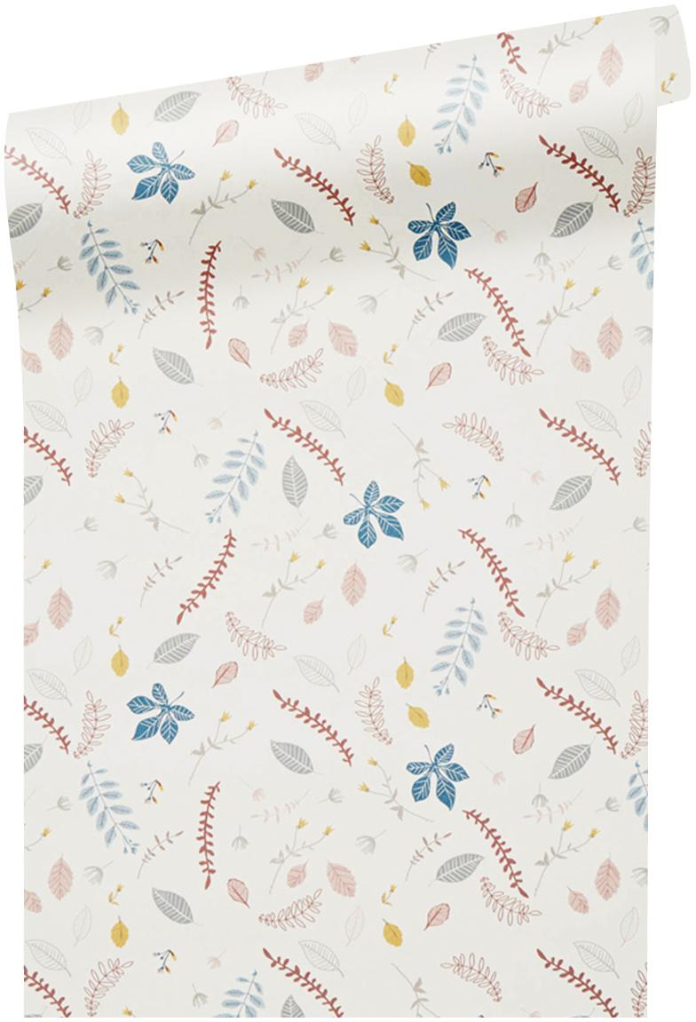 Carta da parati Pressed Leaves, Carta, Crema, rosa, blu, grigio, giallo, Larg. 53 x Lung. 1005 cm
