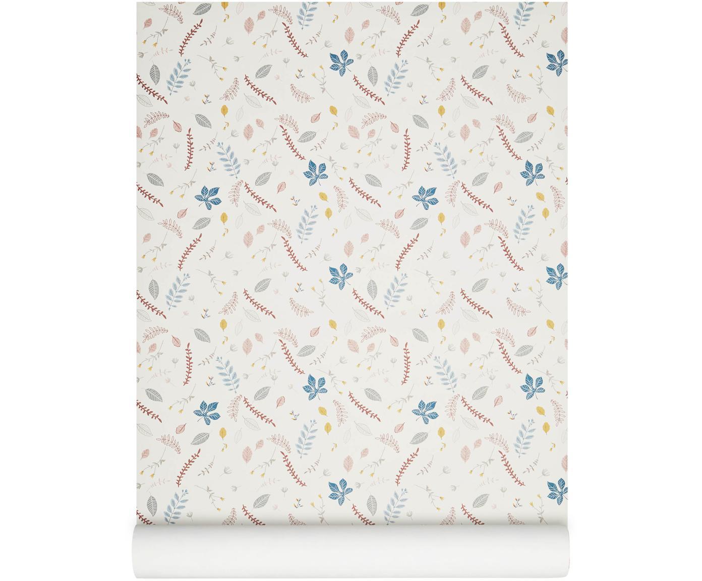 Tapeta Pressed Leaves, Papier, Kremowy, blady różowy, niebieski, szary, żółty, S 53 x D 1005 cm
