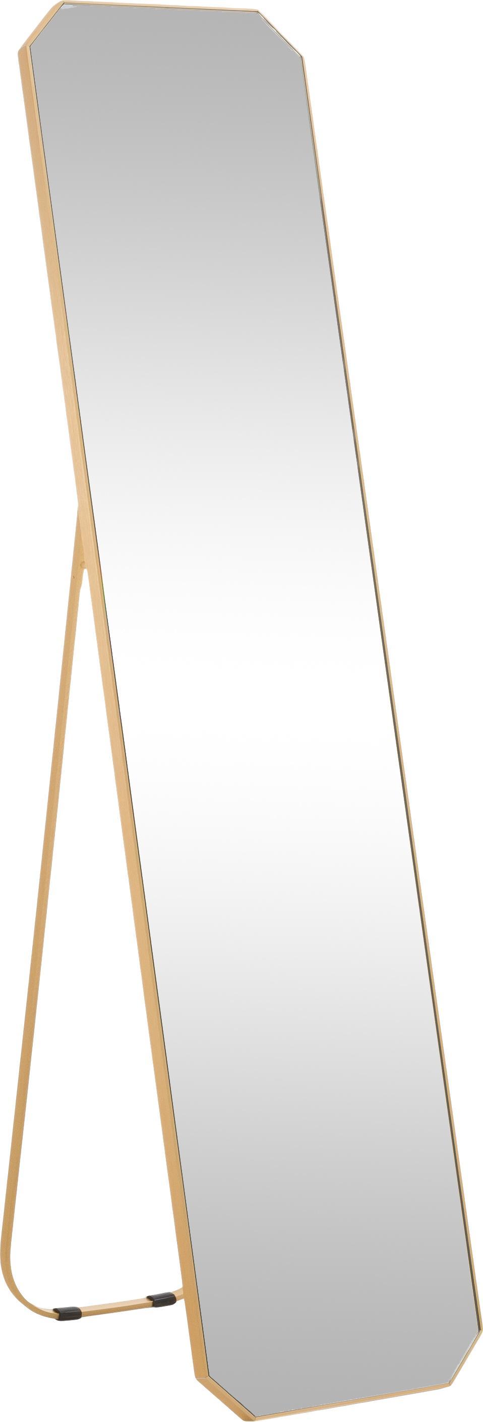 Eckiger Standspiegel Bavado mit Goldrahmen, Rahmen: Aluminium, beschichtet, Spiegelfläche: Spiegelglas, Messingfarben, 41 x 175 cm