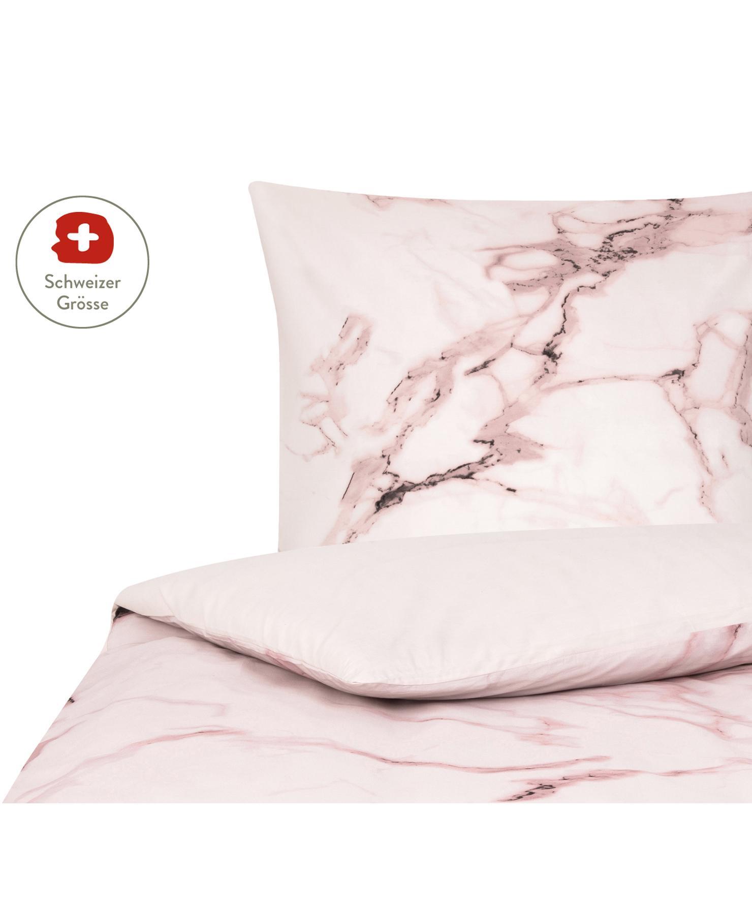 Baumwollperkal-Bettdeckenbezug Malin mit Marmor-Muster, Webart: Renforcé Fadendichte 200 , Vorderseite: Marmormuster, Rosa Rückseite: Rosa, Uni, 160 x 210 cm
