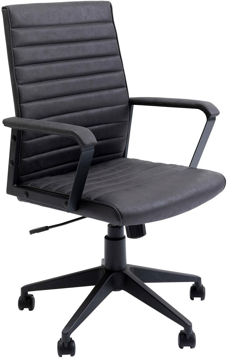 Sedia da ufficio girevole in pelle sintetica Labora, Rivestimento: similpelle, Seduta: legno di pioppo massiccio, Nero, Larg. 57 x Alt. 105 cm