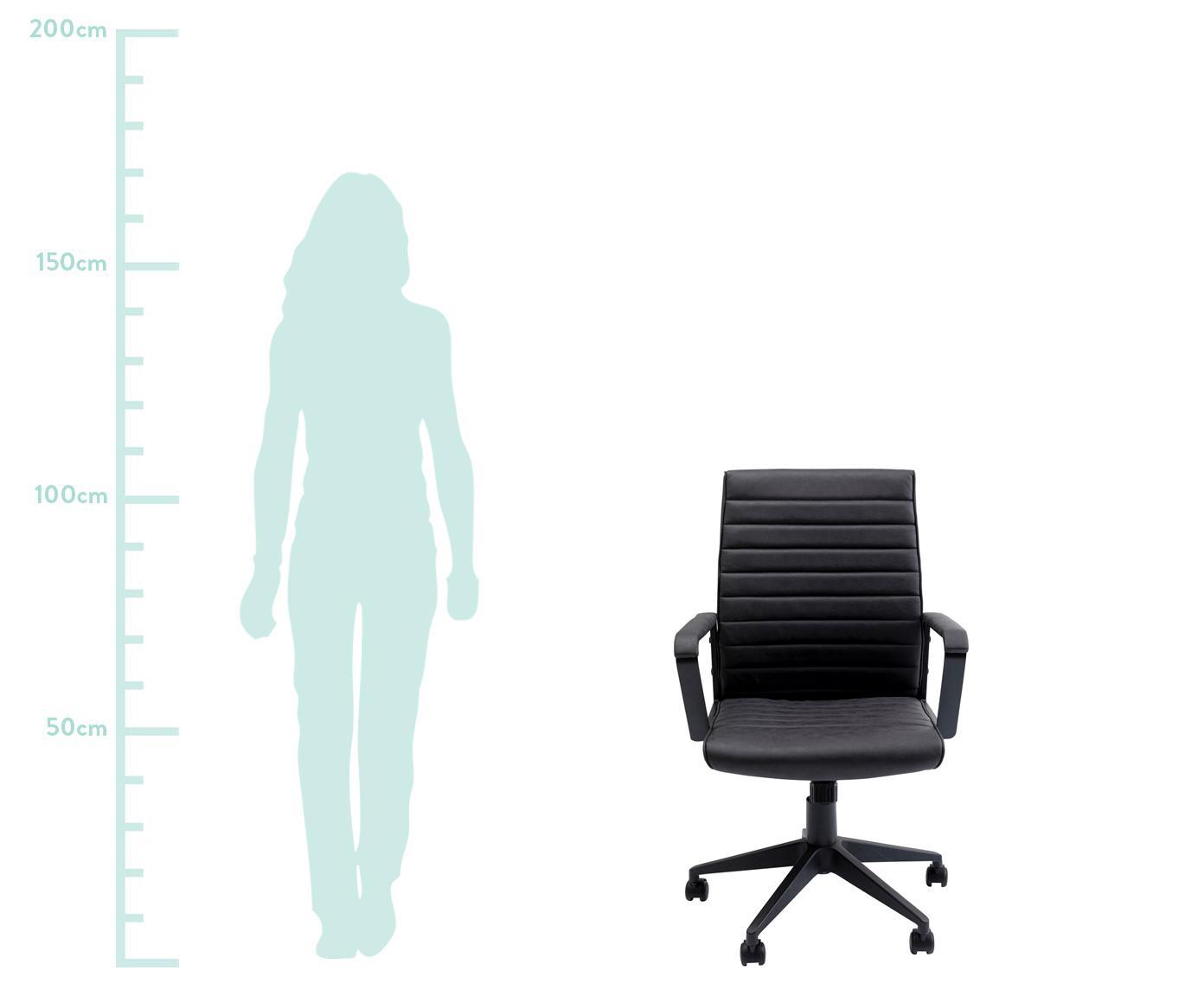 Kunstleder-Bürodrehstuhl Labora, Bezug: Kunstleder, Sitzschale: Pappelholz, massiv, natur, Schwarz, 57 x 105 cm
