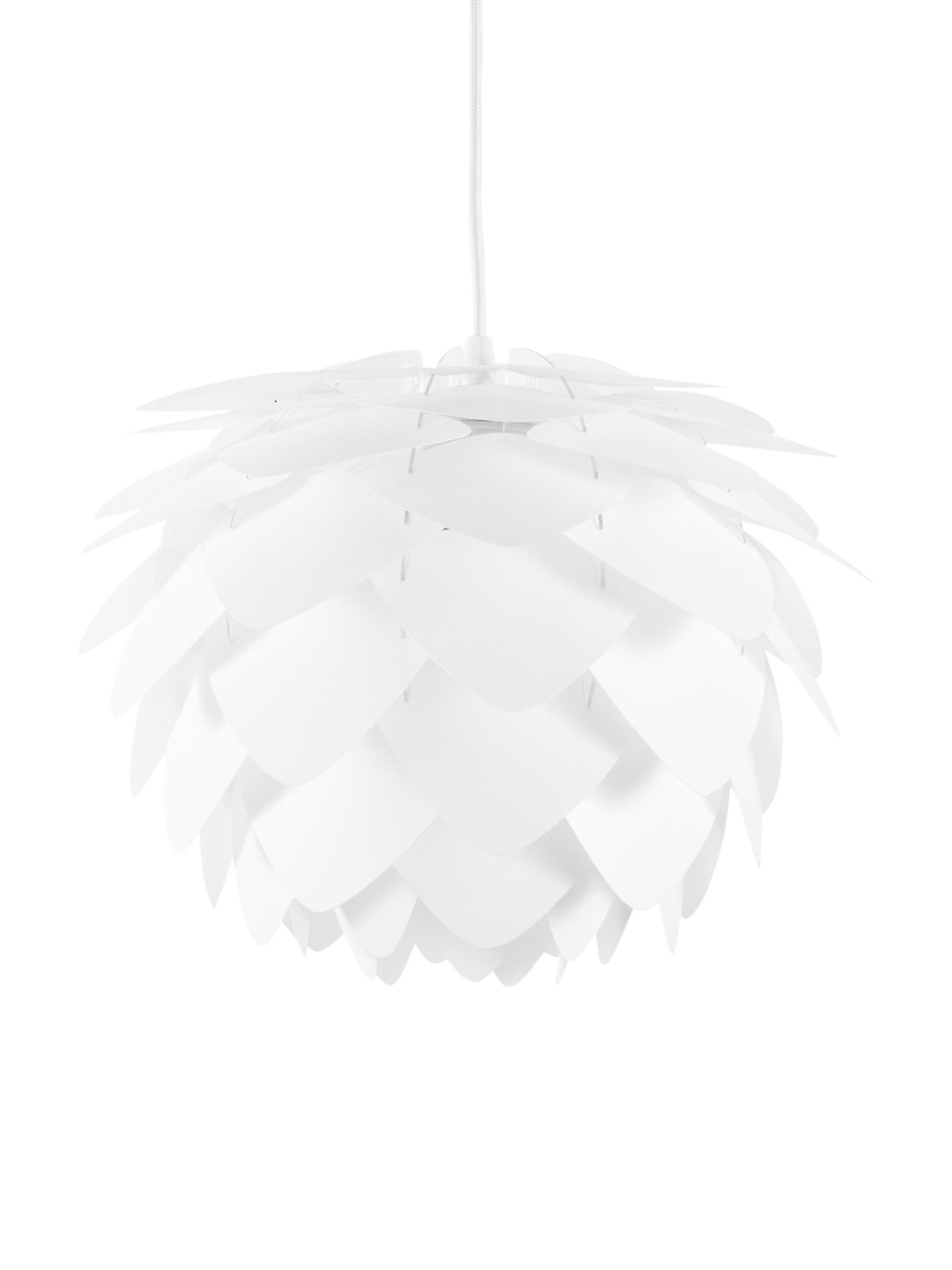 Lámpara de techo Silvia, set para montar, Pantalla: polipropileno, Cable: cubierto en tela, Blanco, Ø 32 x Al 25 cm
